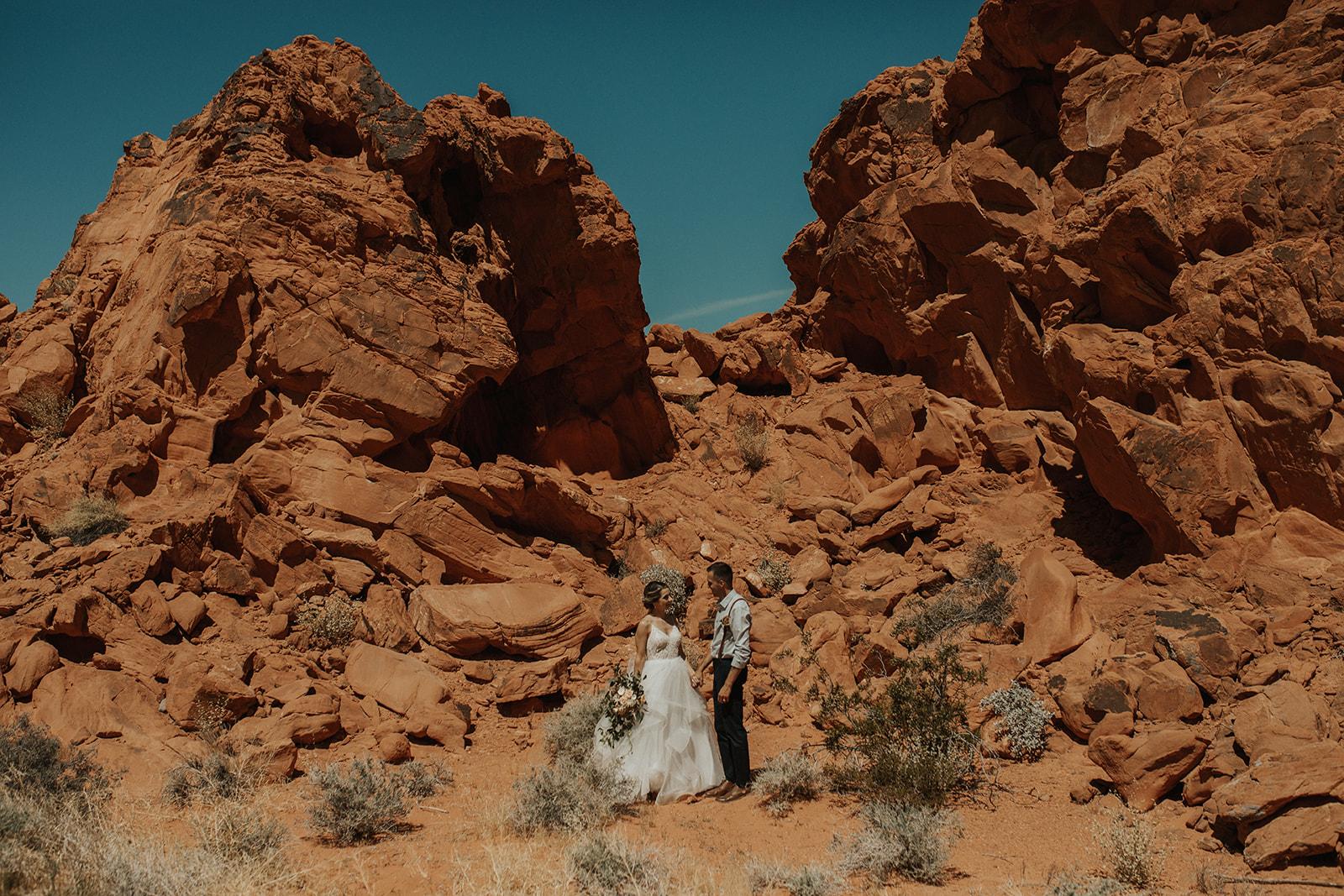 red rock desert portraits spokane bride and groom