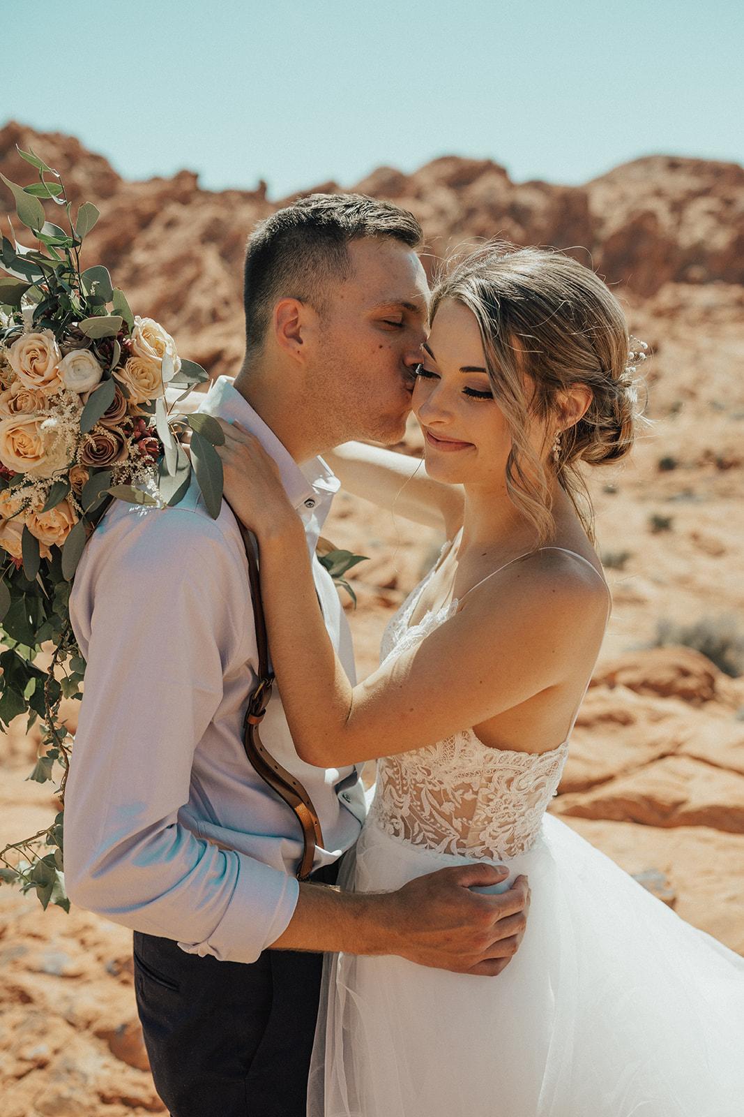 spokane bride and groom desert elopement