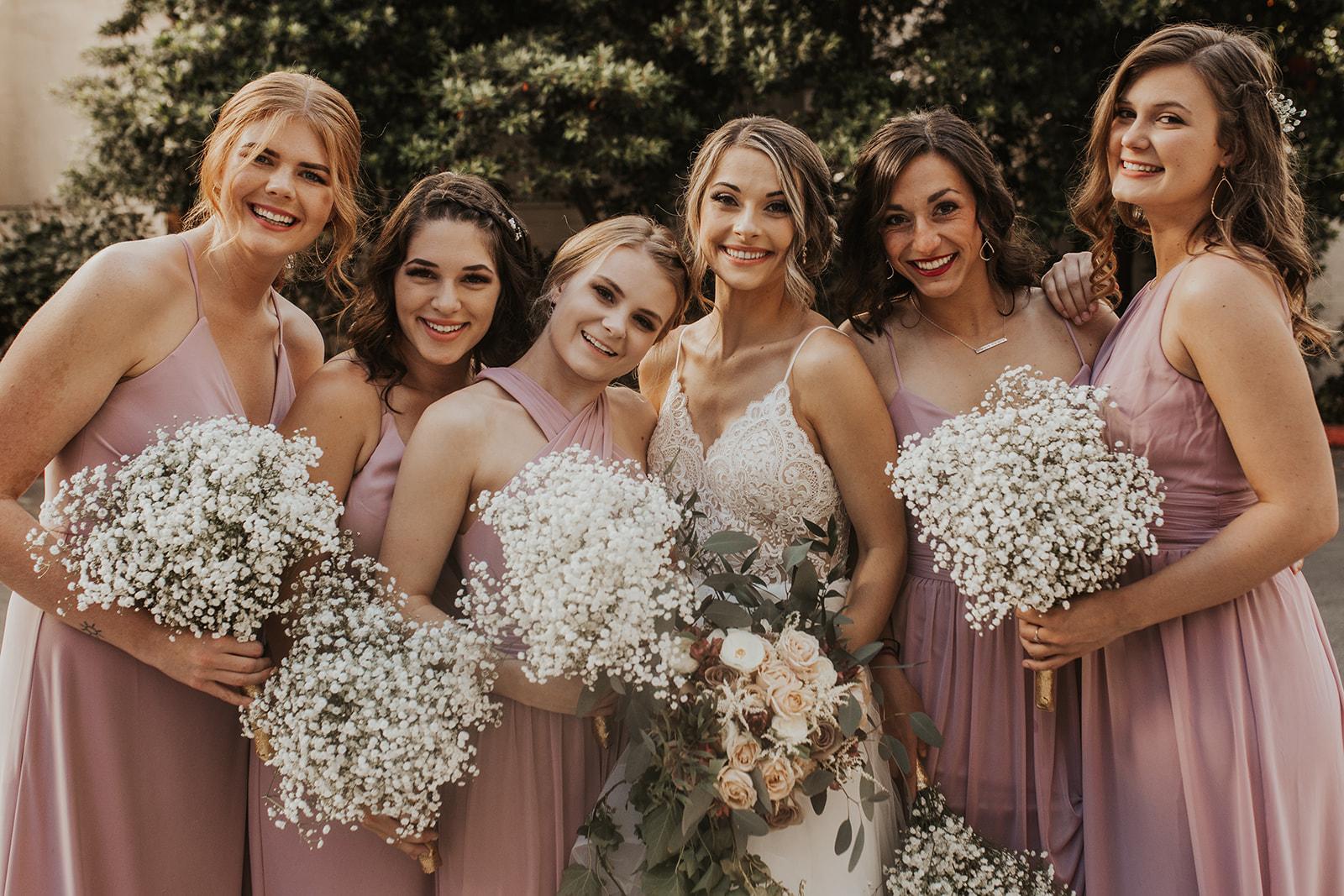 laughing bridal party spokane bride
