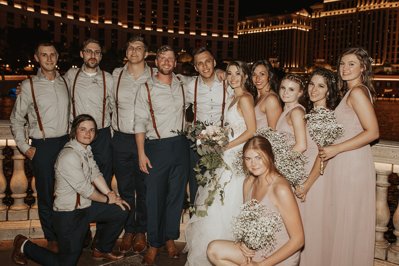 wedding party in vegas spokane bride and groom