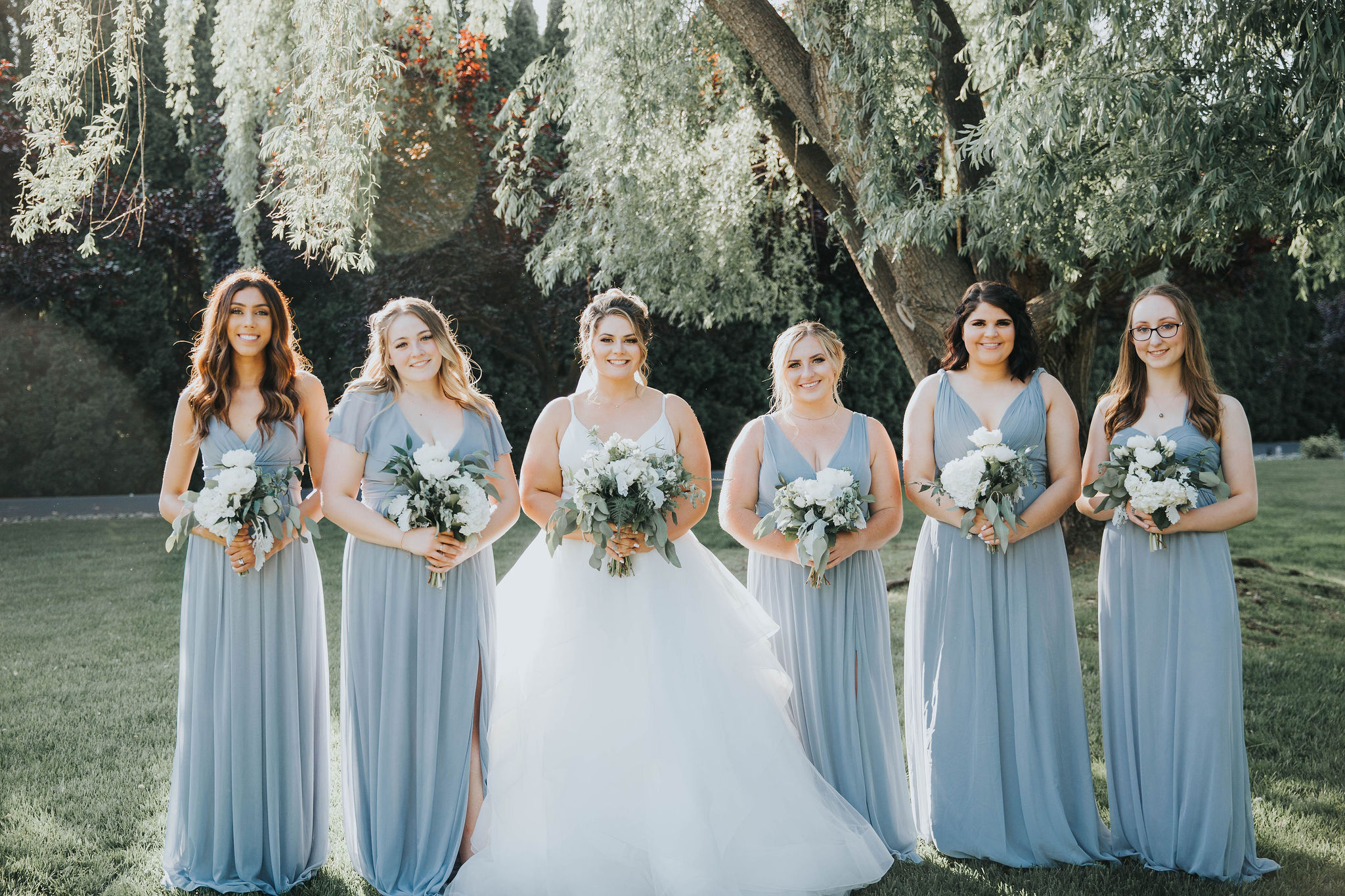 bridesmaids spokane wedding happy bridal party