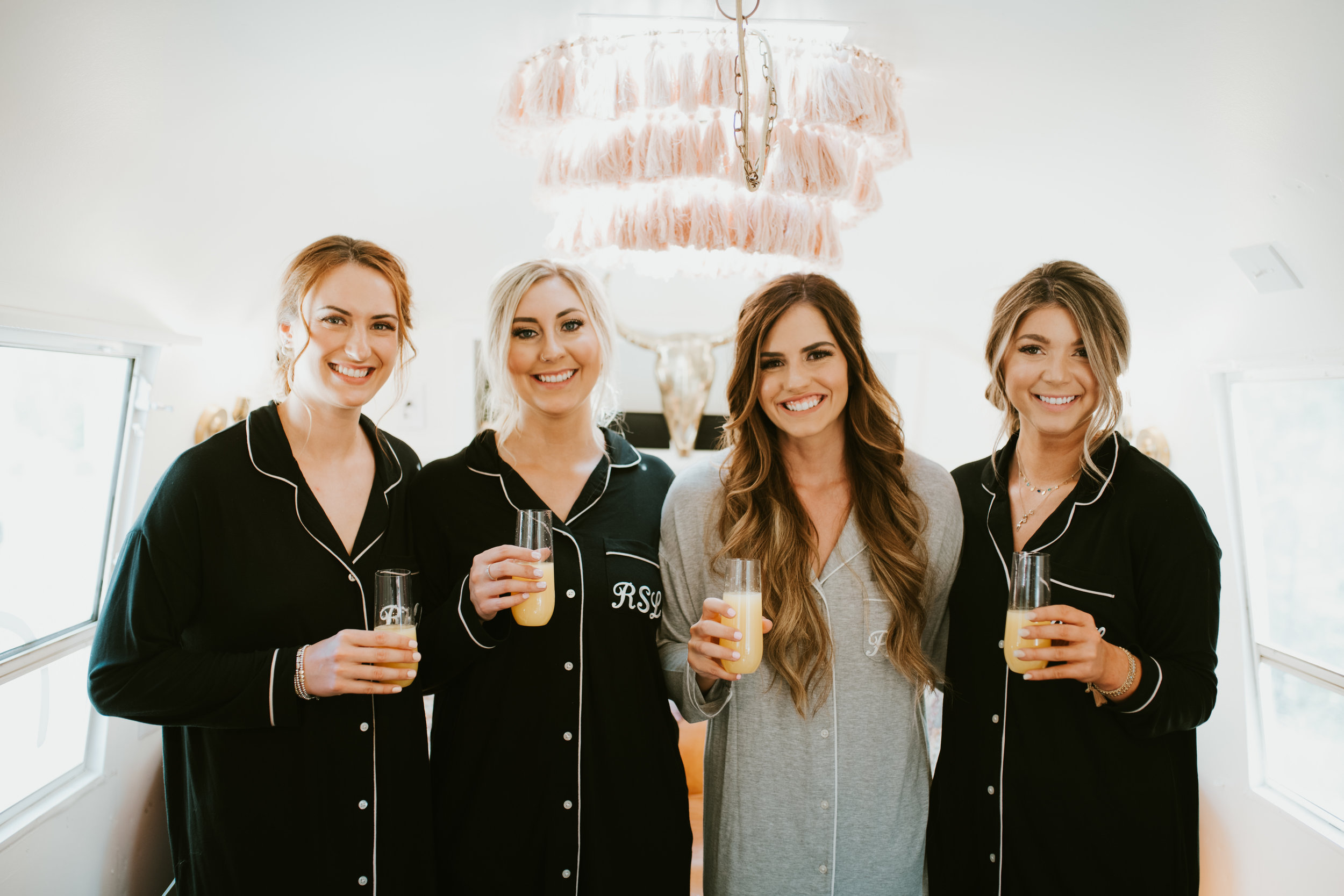 bridal party matching pjs spokane wedding