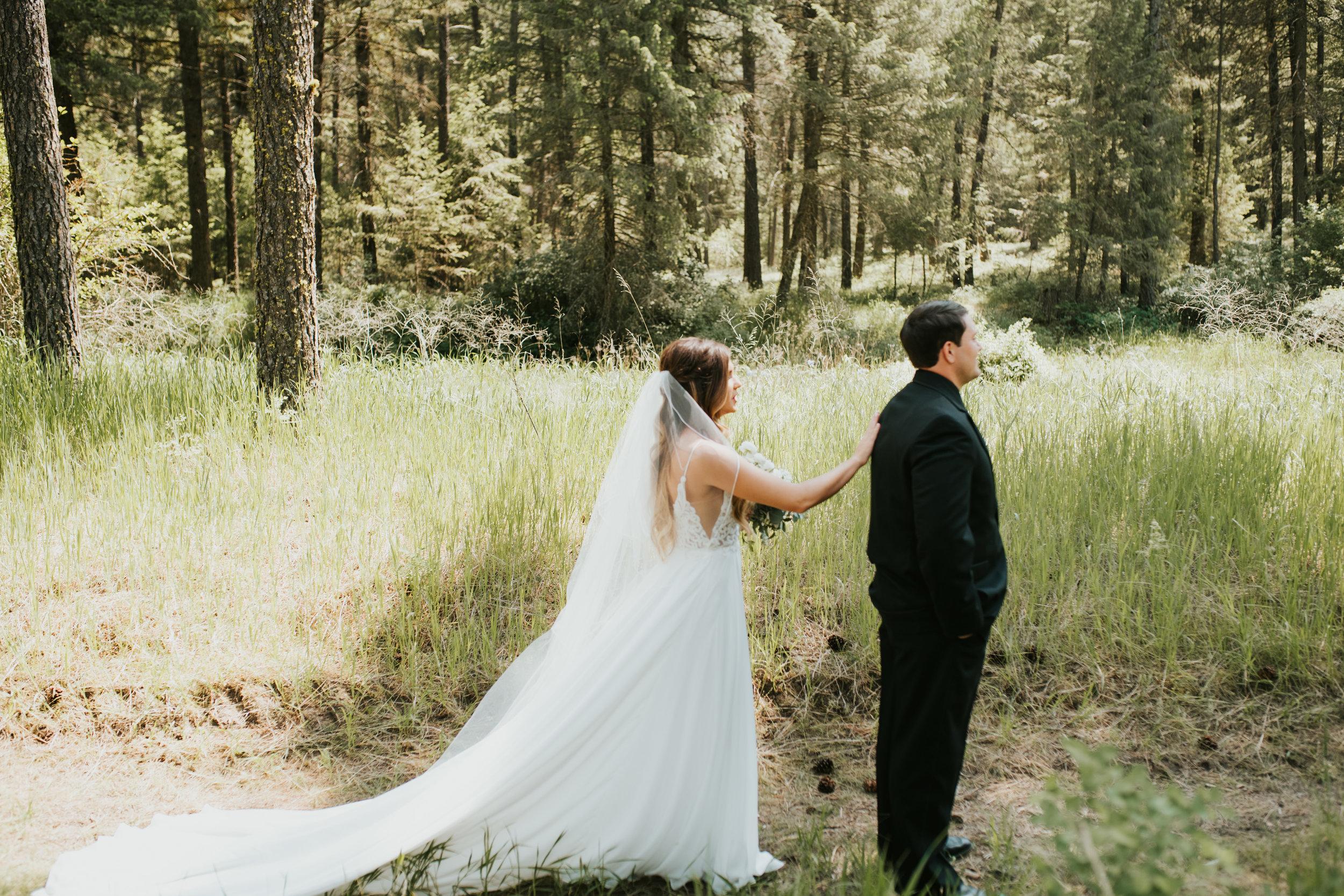 first look spokane bride and groom