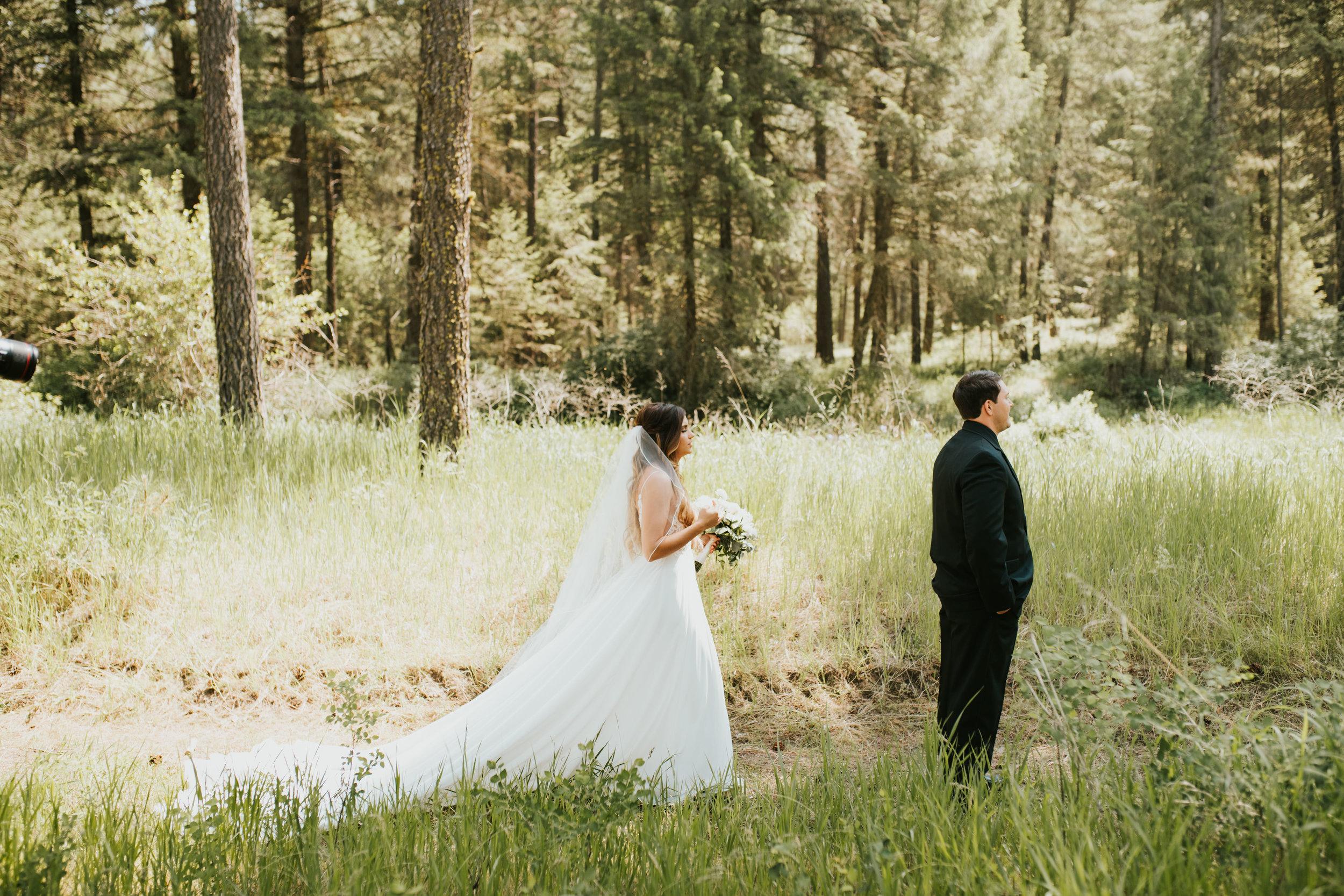 first look spokane wedding bride long train