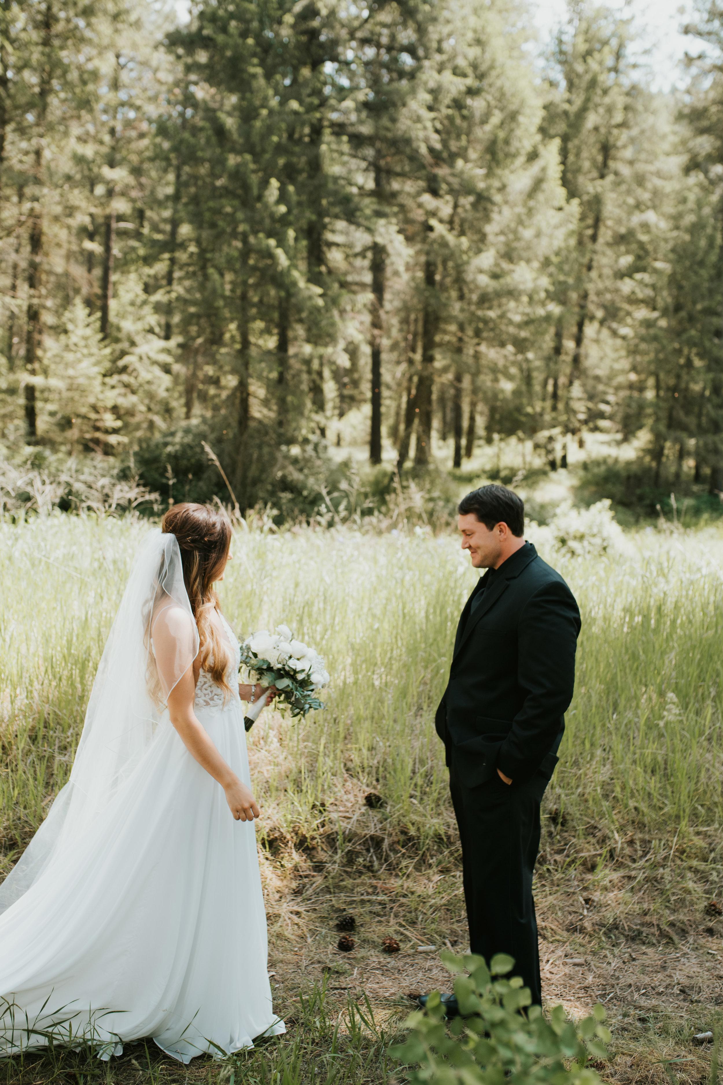 first look bride and groom outdoor wedding spokane