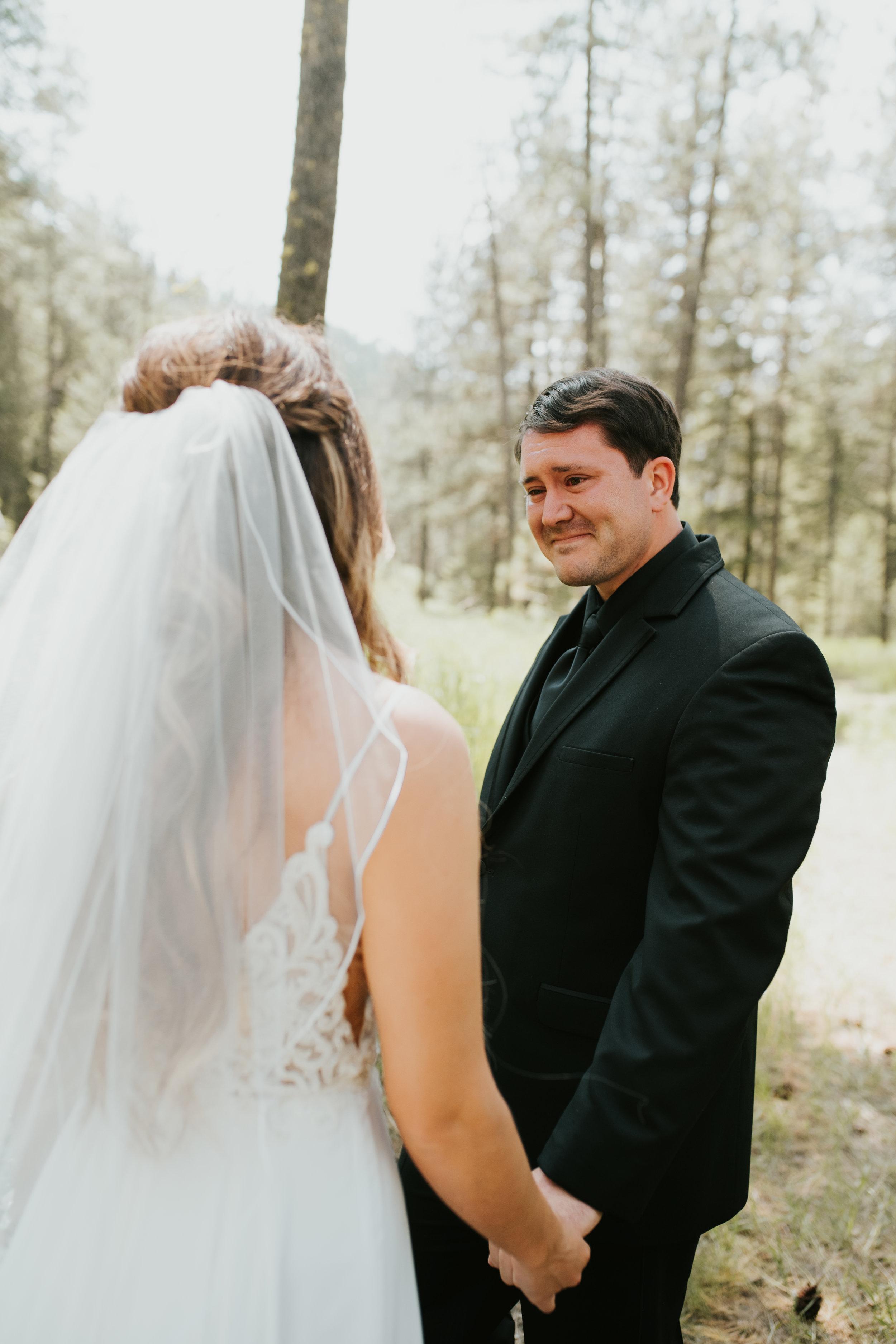 crying groom first look spokane outdoor wedding