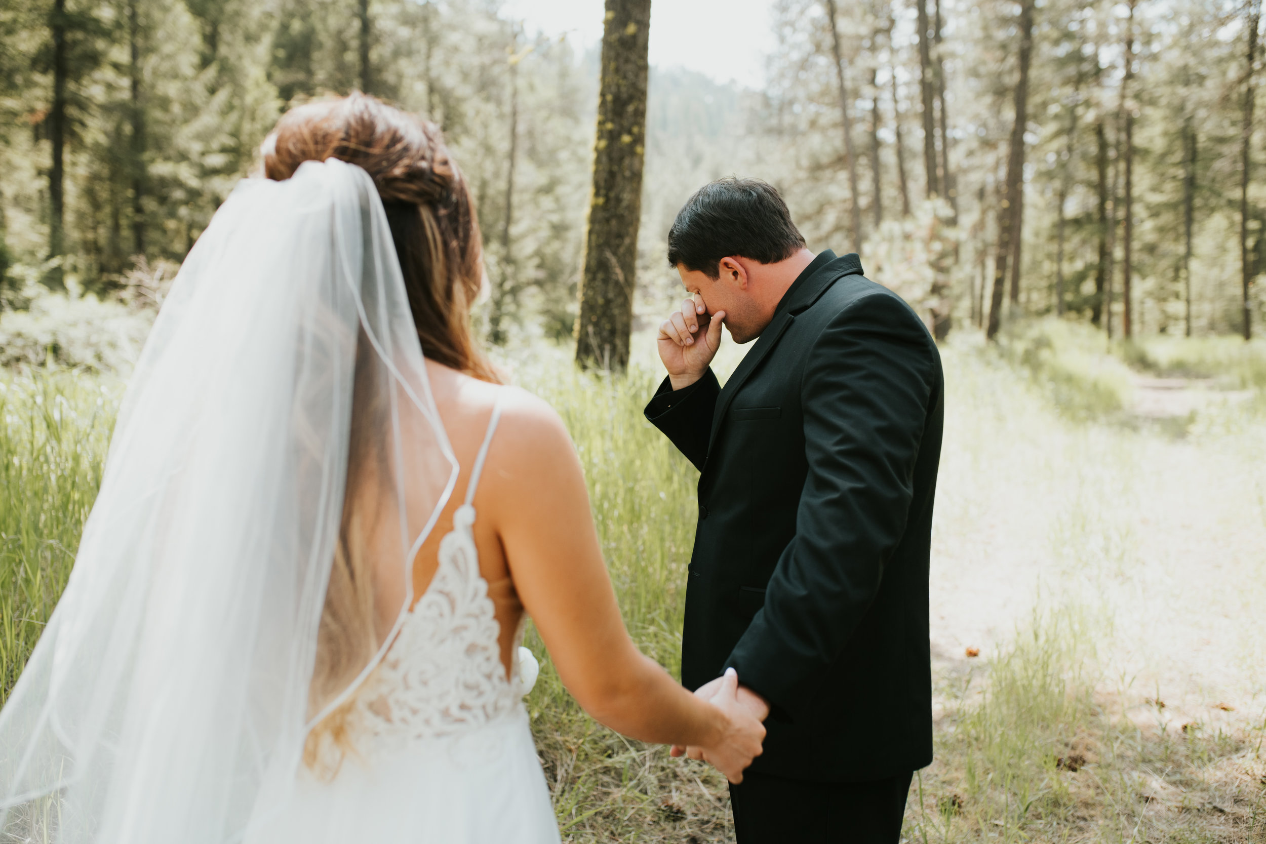first look spokane bride and groom happy couple