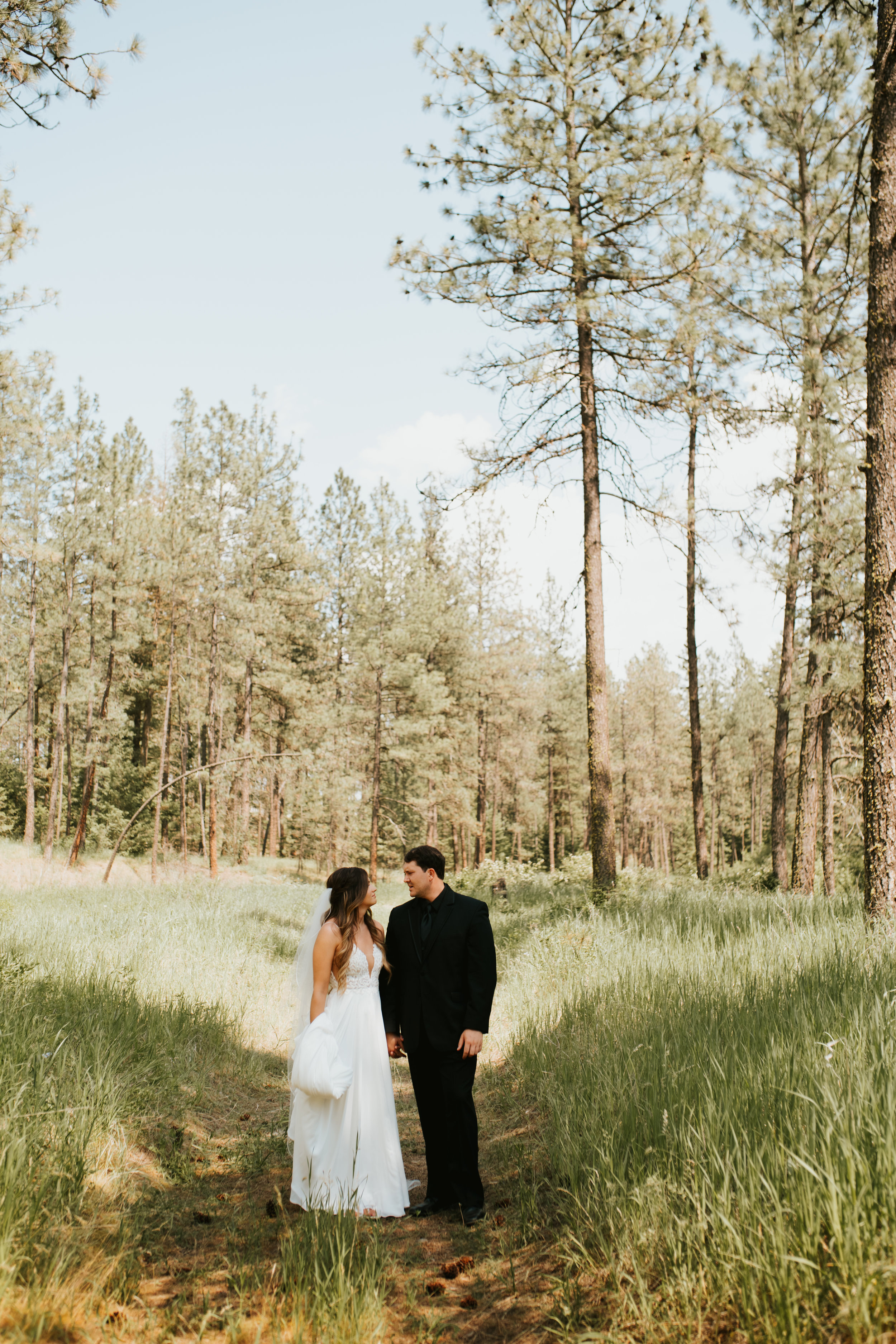 couple portrait outside spokane wedding