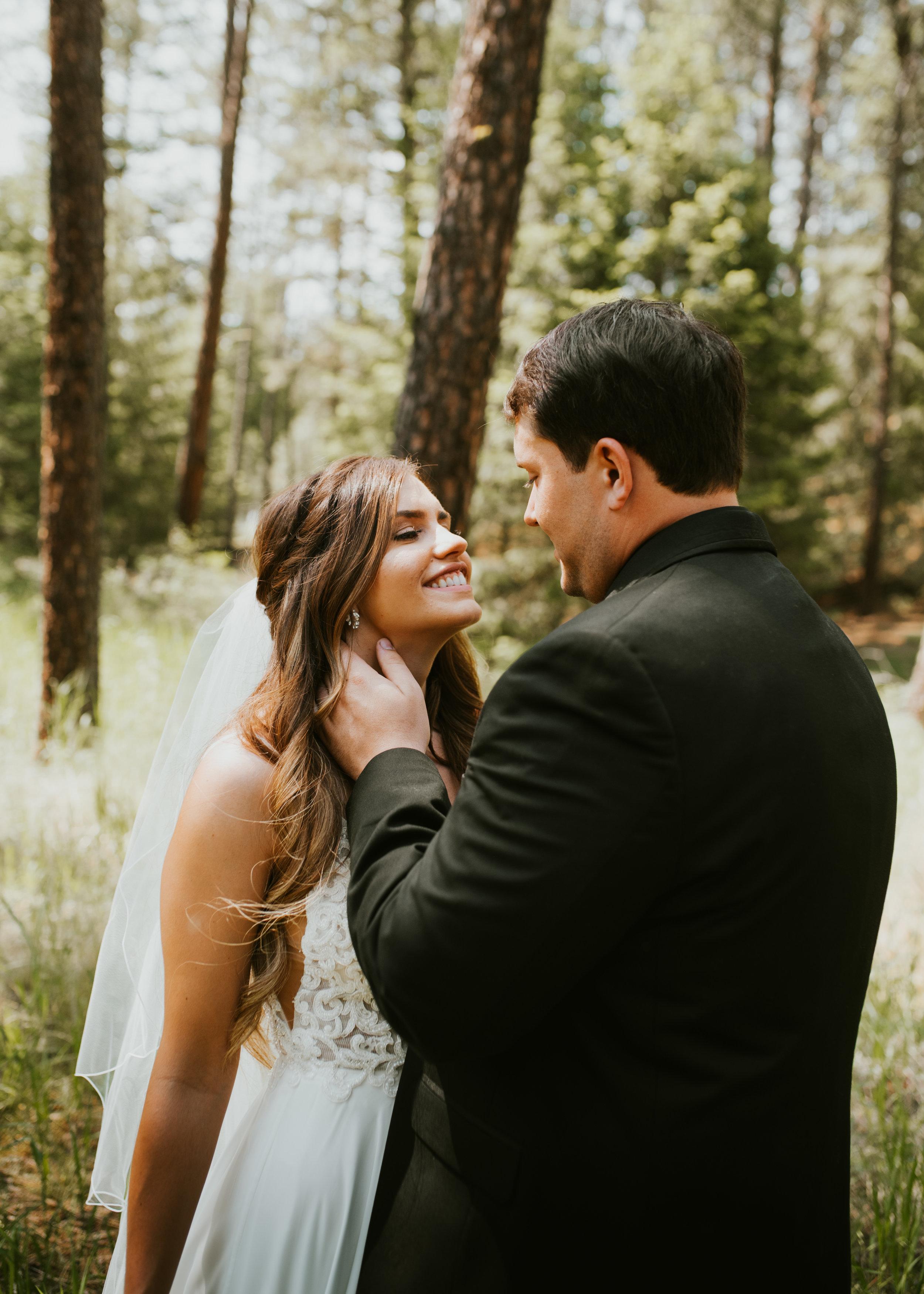 bride and groom first look spokane wedding