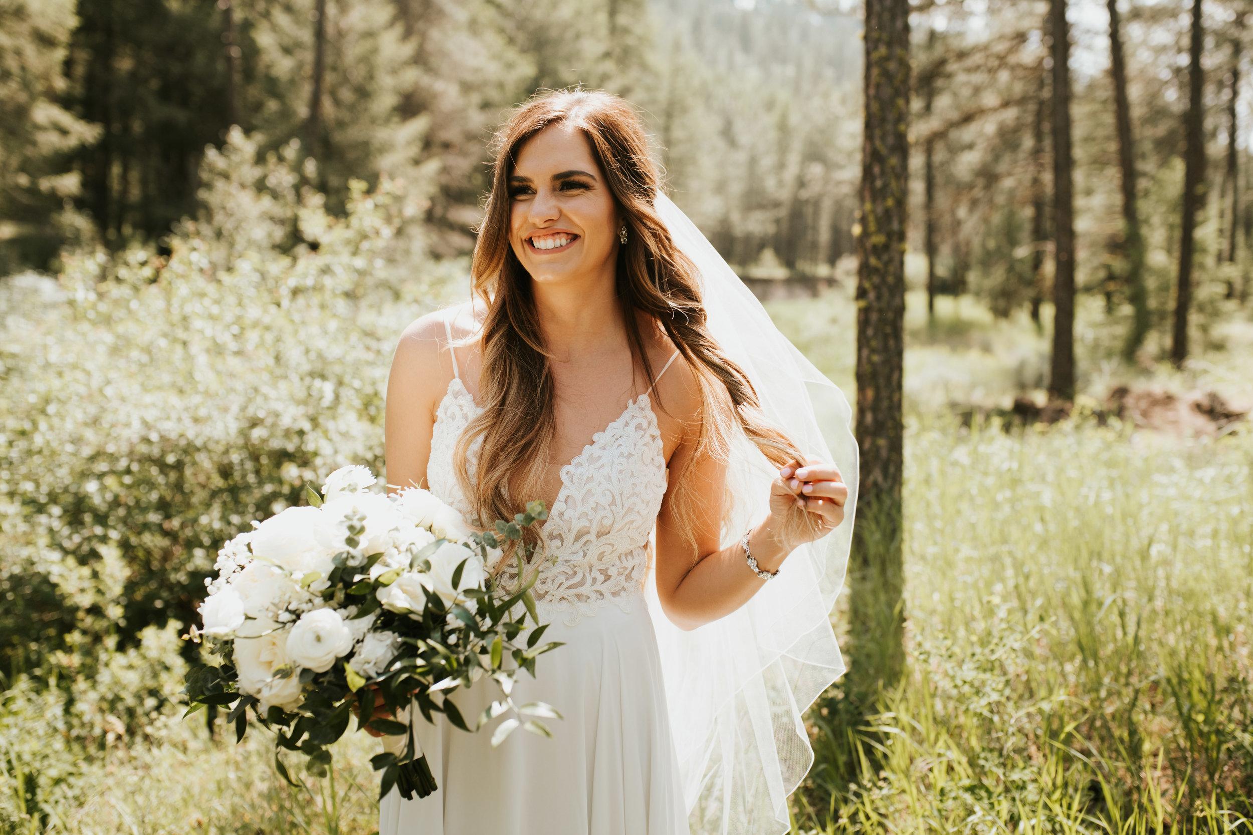 bride portrait spokane outdoor wedding