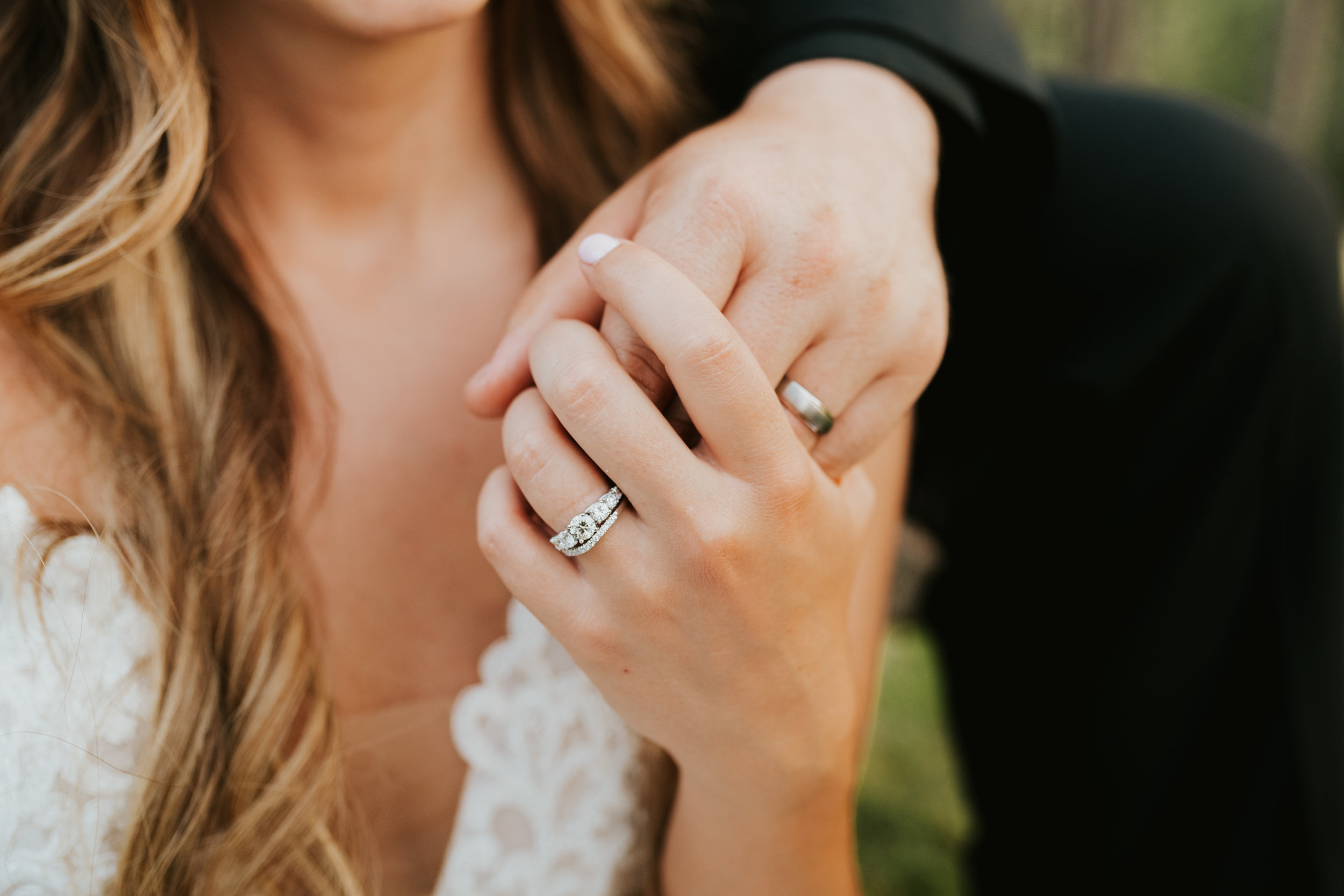 close up shot of rings spokane wedding
