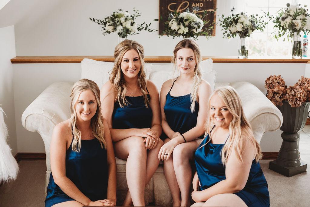 bridal party getting ready spokane wedding