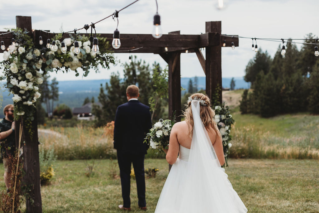 first look bride and groom spokane outdoor wedding