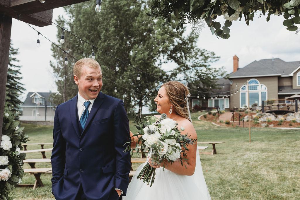 first look bride and groom barn spokane wedding