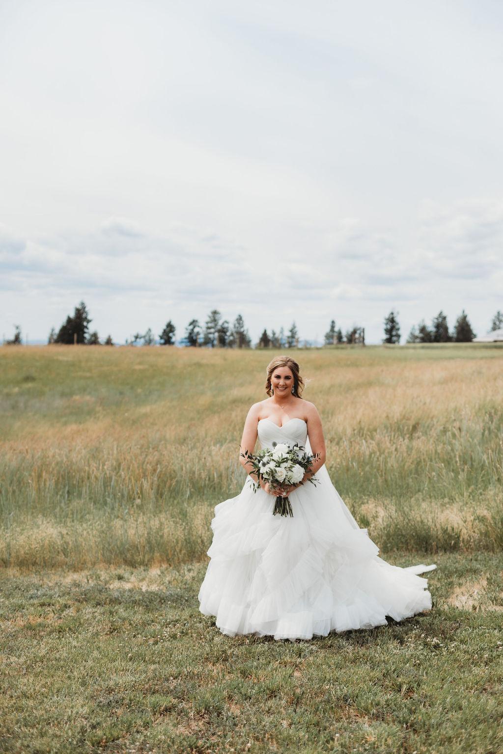 spokane bride field wedding