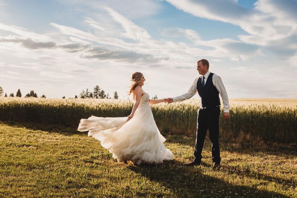 spinning ballgown spokane wedding bride and groom