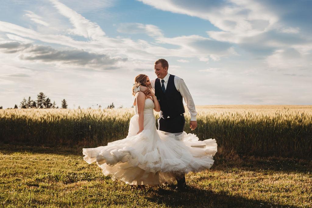 wtoo ballgown spokane wedding sunset