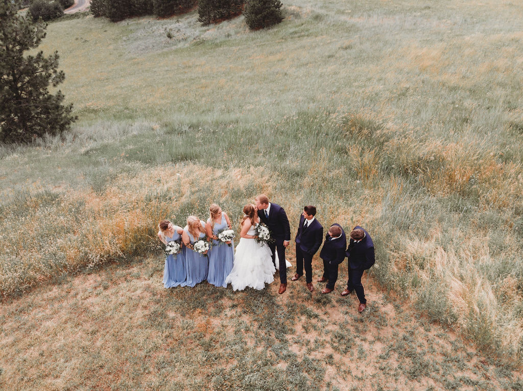 bridal party arial view spokane wedding