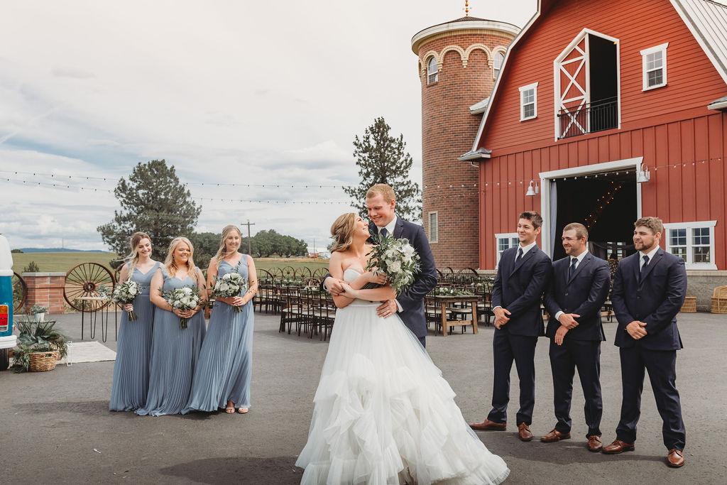 happy couple red barn spokane bride and groom