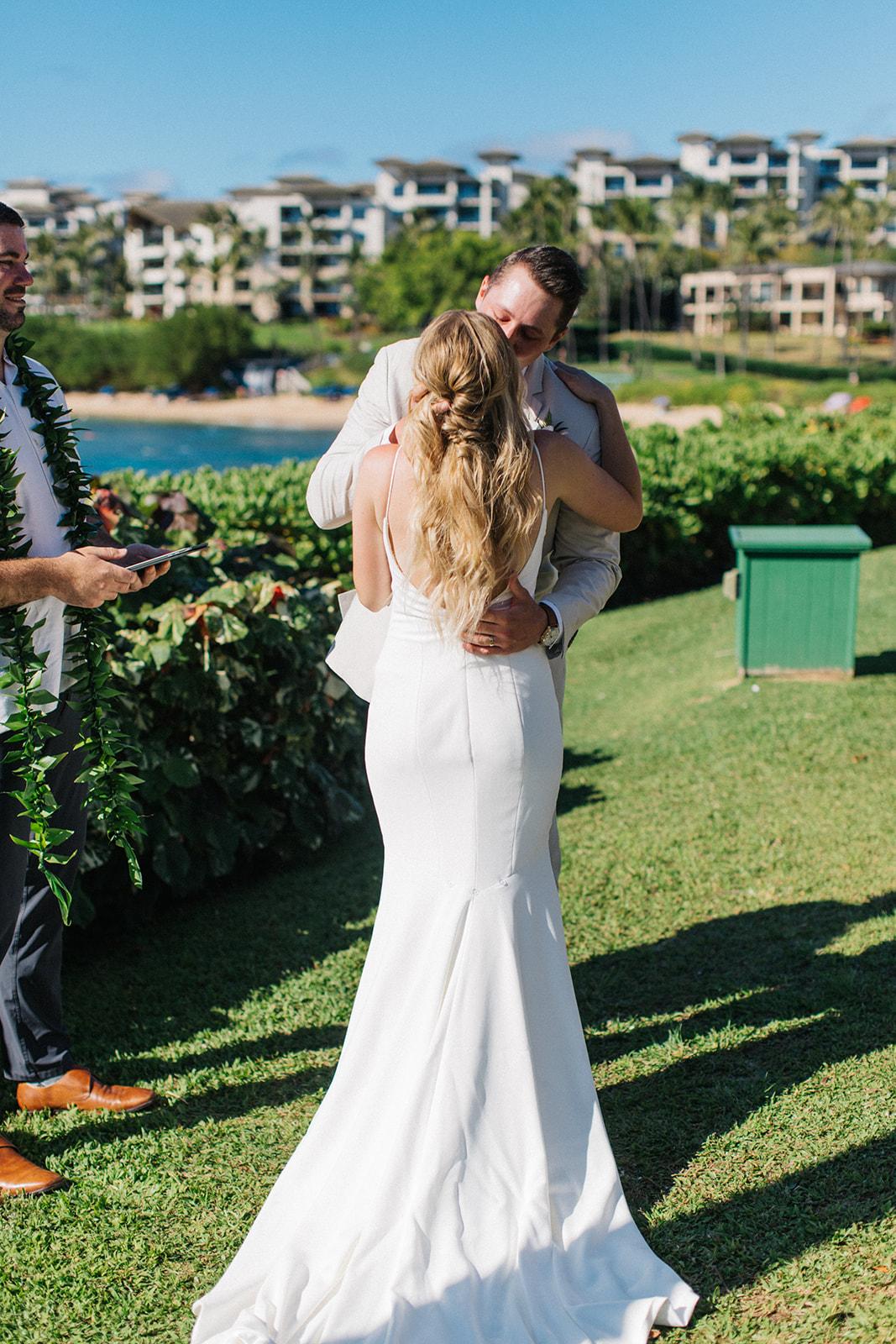 first kiss spokane bride and groom hawaii wedding