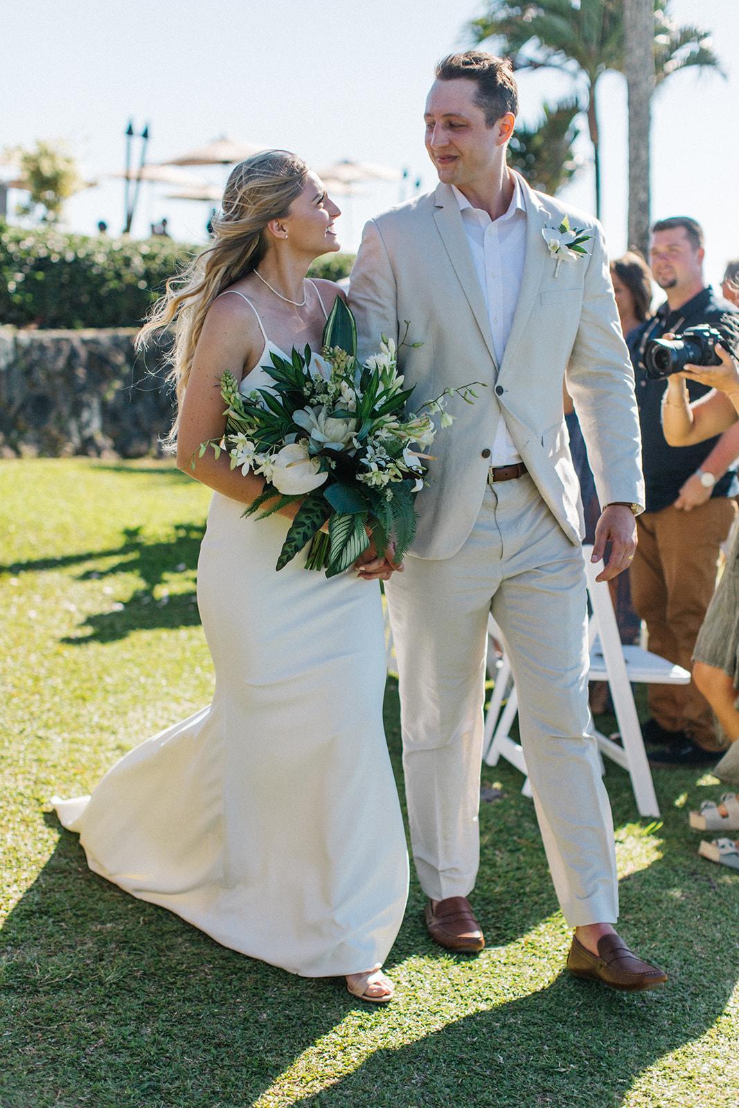 happy couple newlyweds spokane bride and groom hawaii wedding