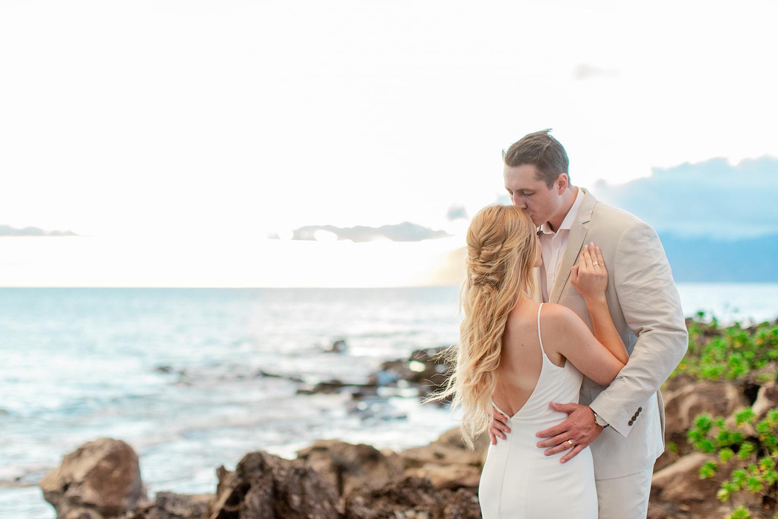 hawaii elopement rocks spokane bride and groom
