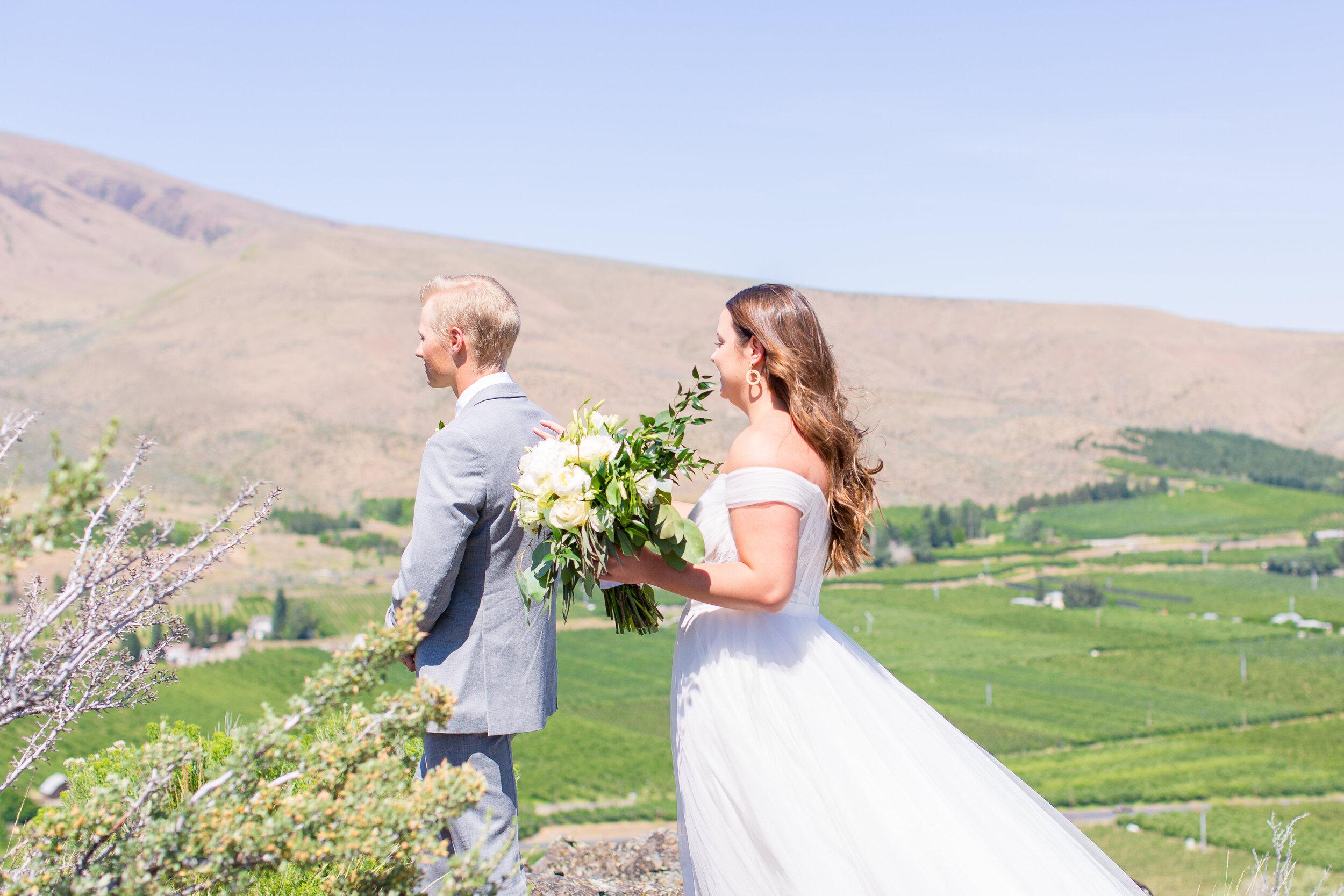 spokane bride and groom first look