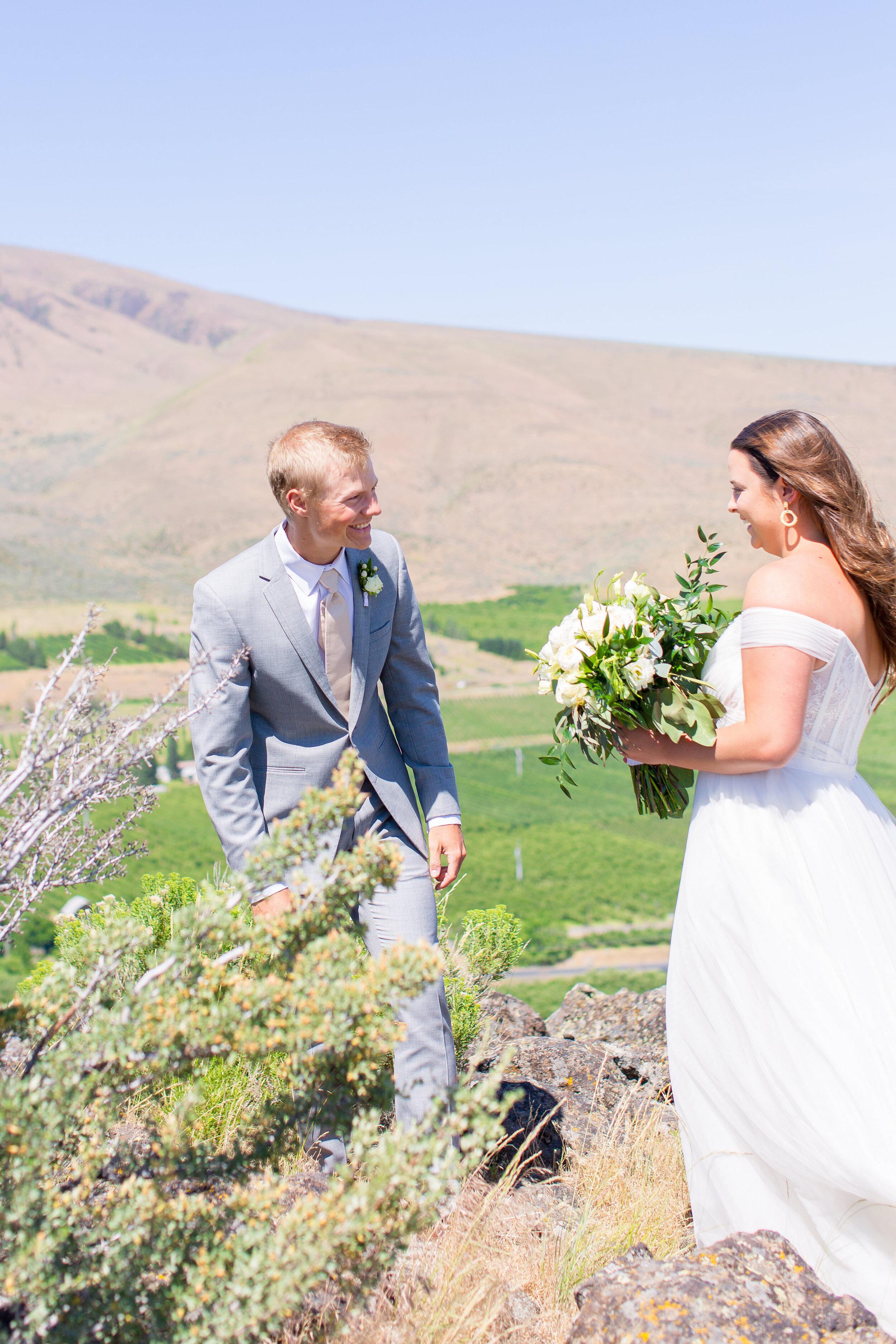 first look bride and groom spokane wedding