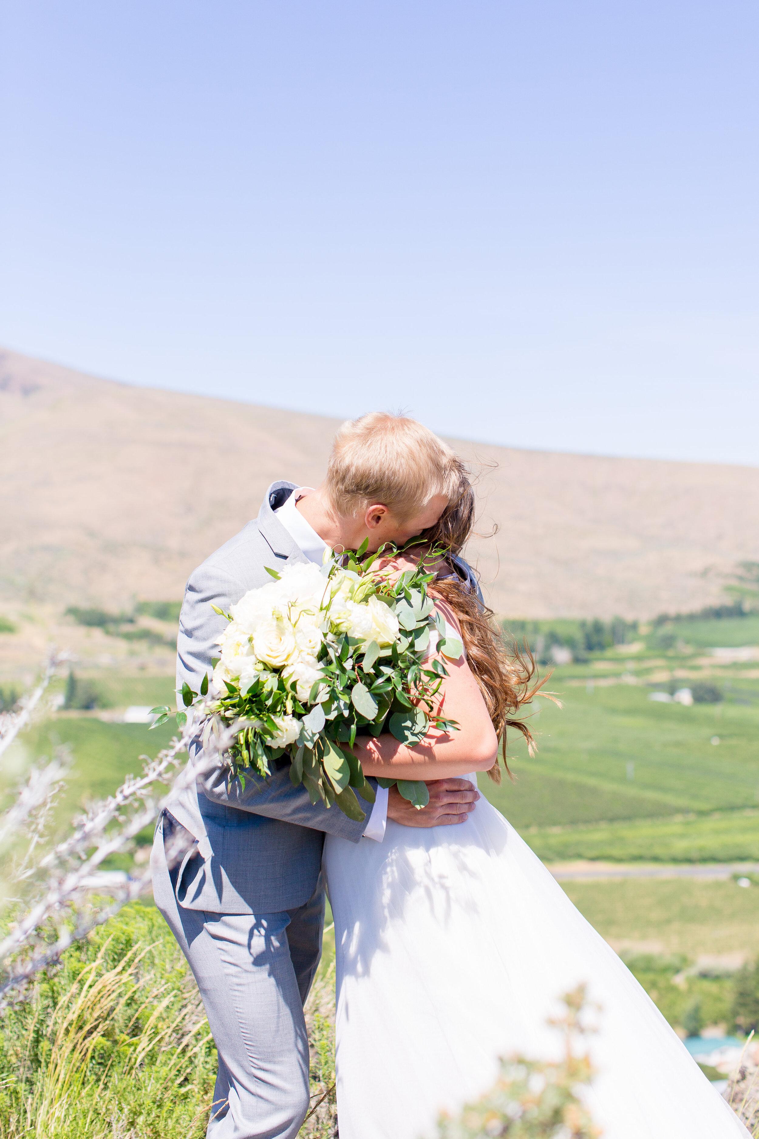 first look hug spokane bride and groom