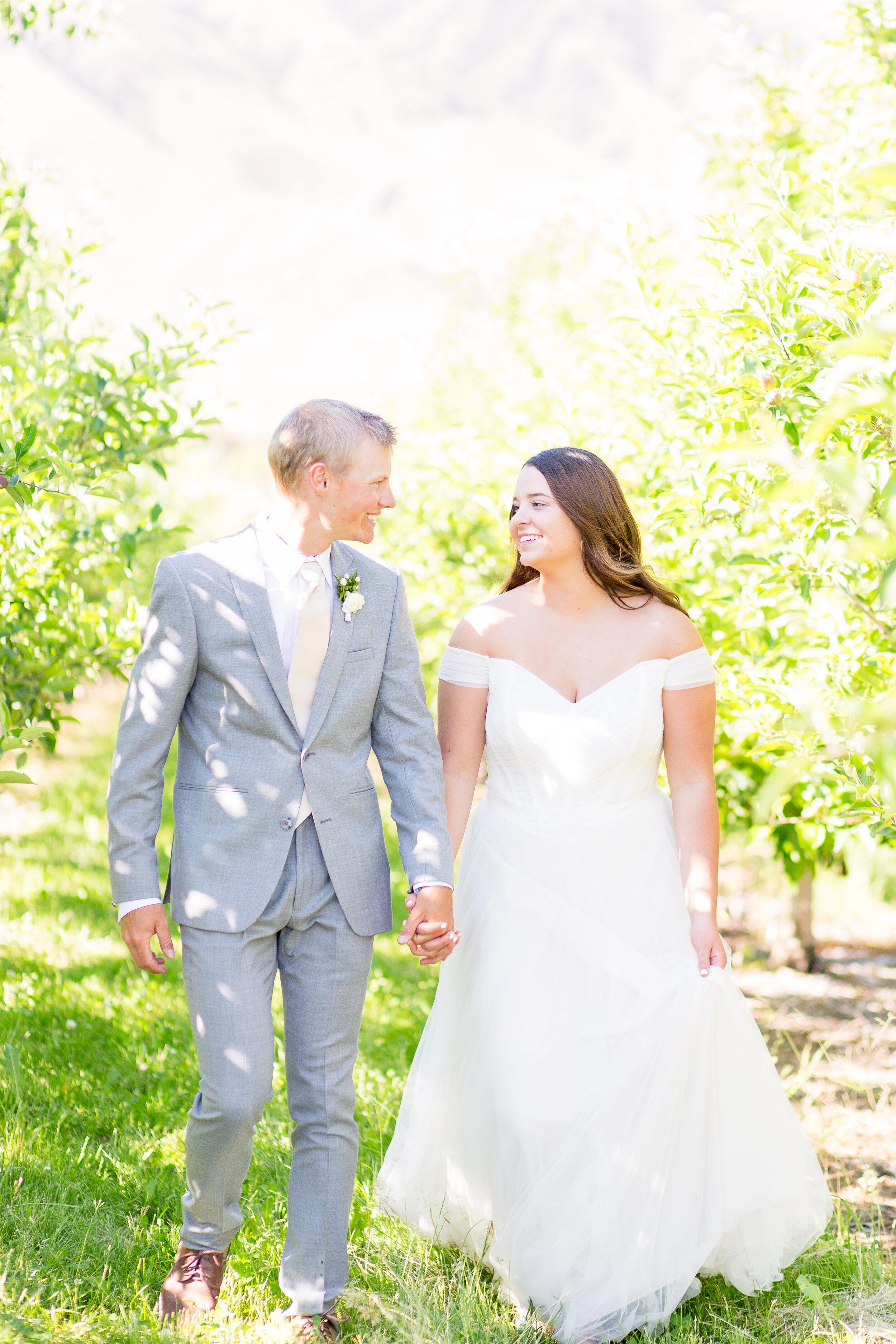 walking away spokane bride and groom