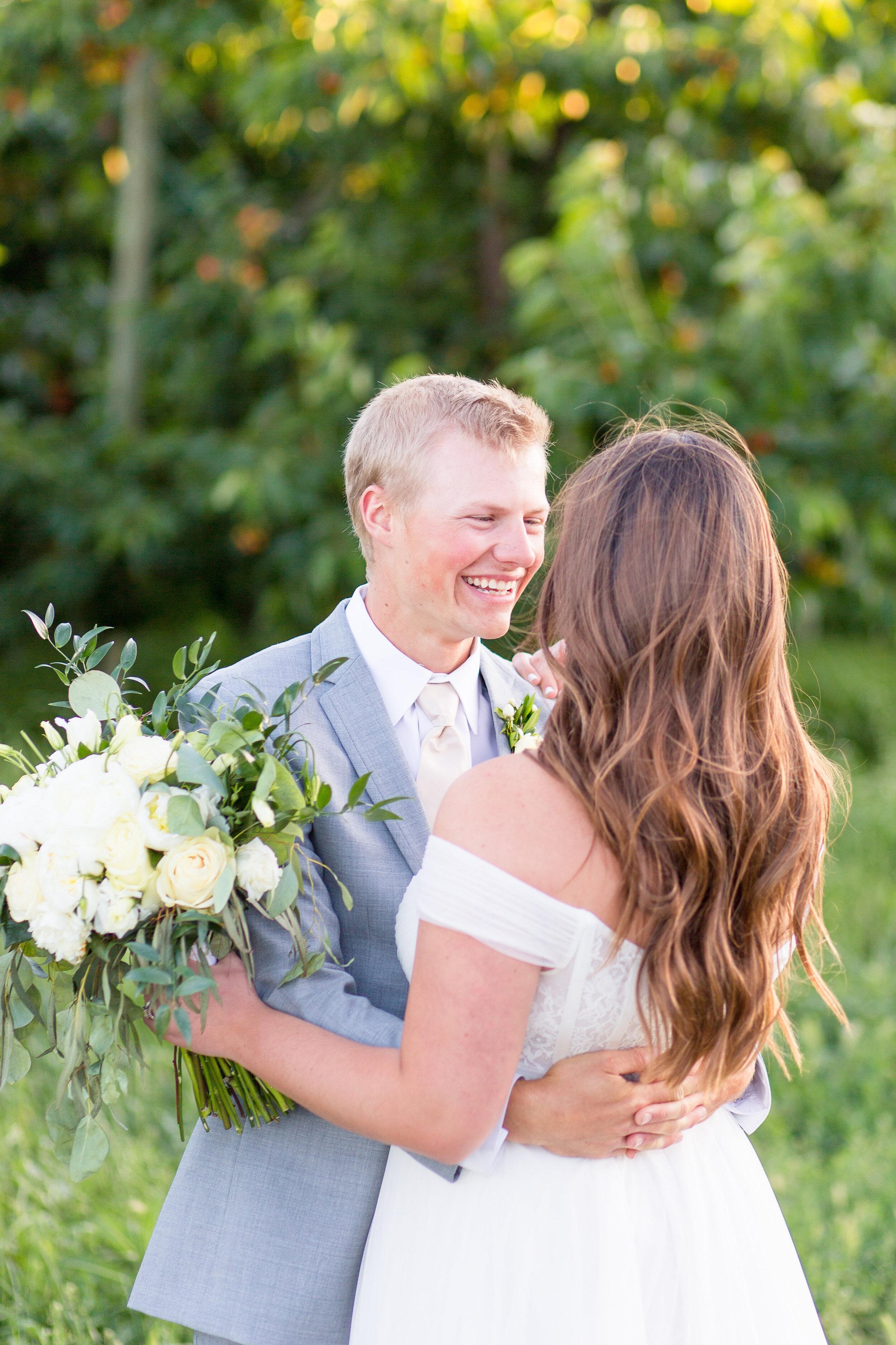 bride and groom before ceremony spokane wedding