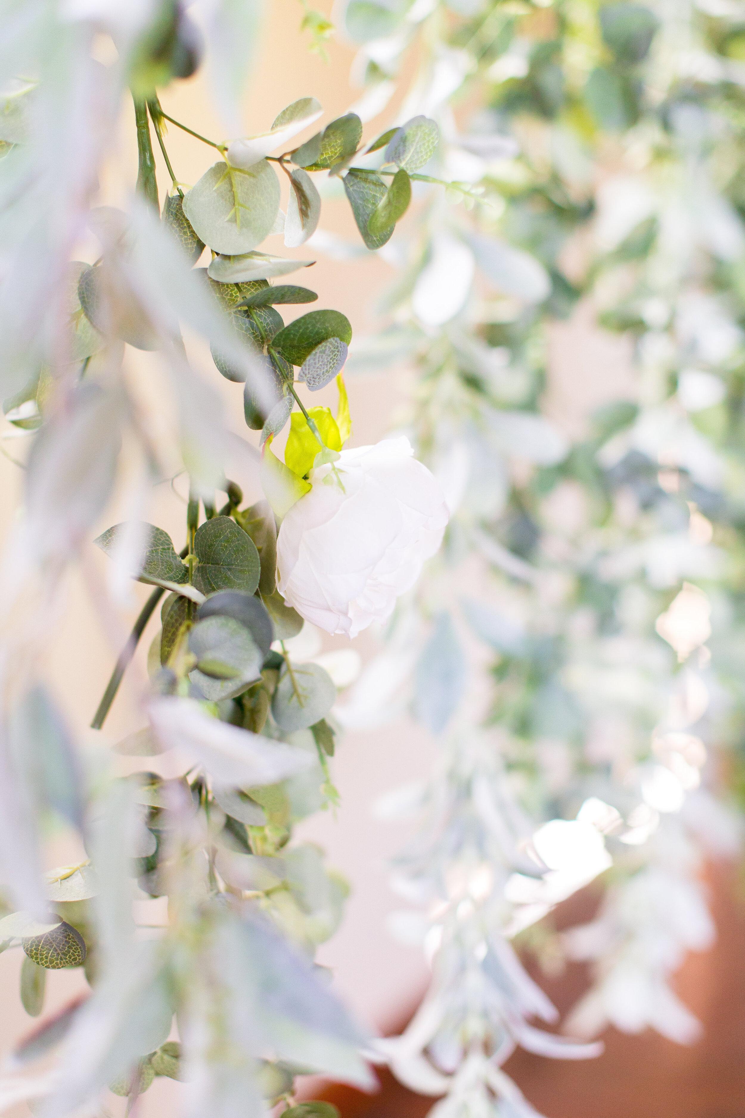 hanging florals spokane wedding bride and groom