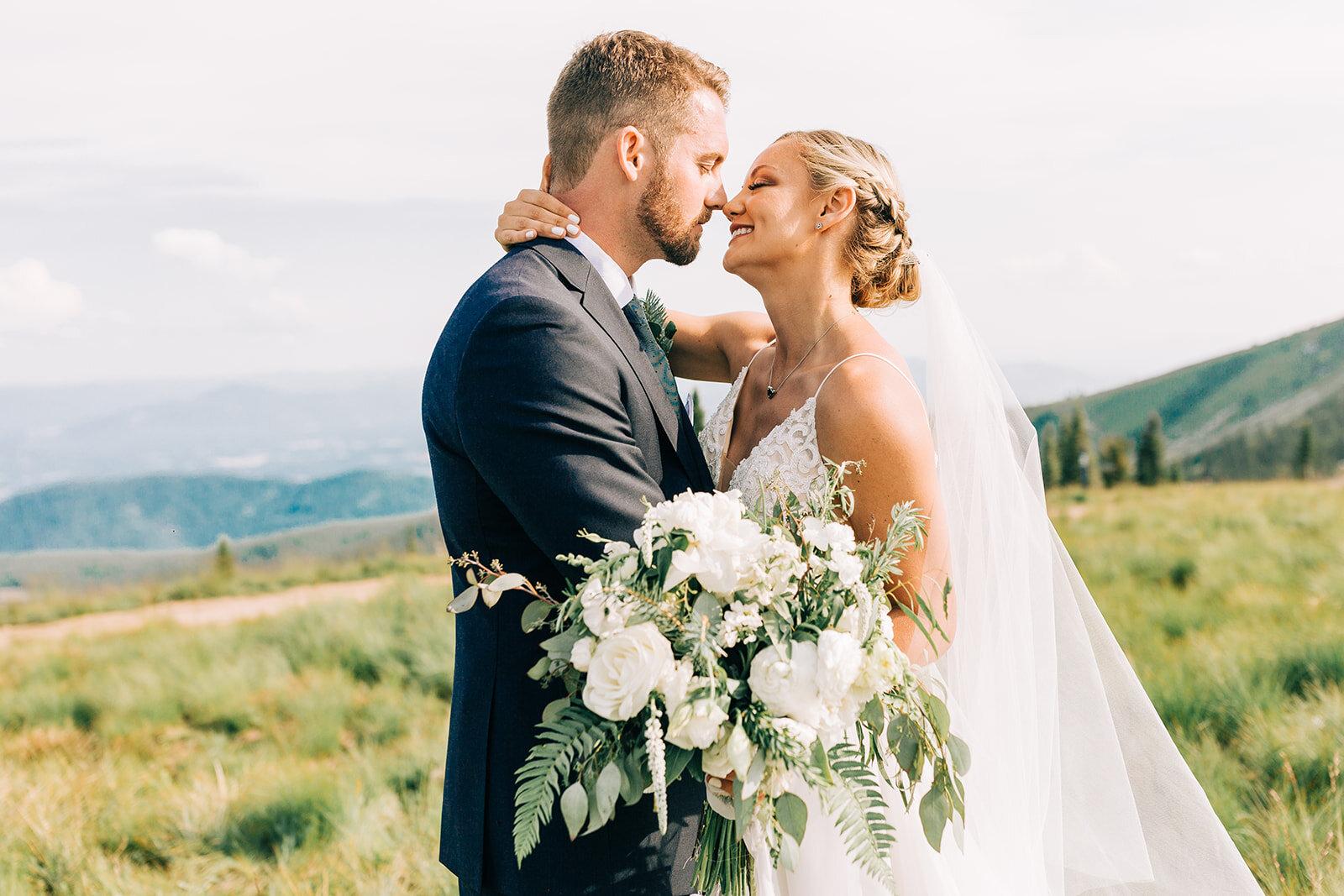 bride and groom portrait spokane mountaintop wedding