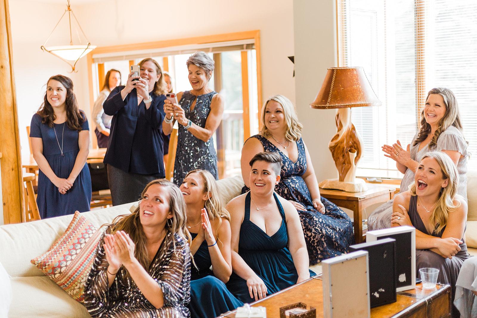 bridal party spokane wedding first look bride