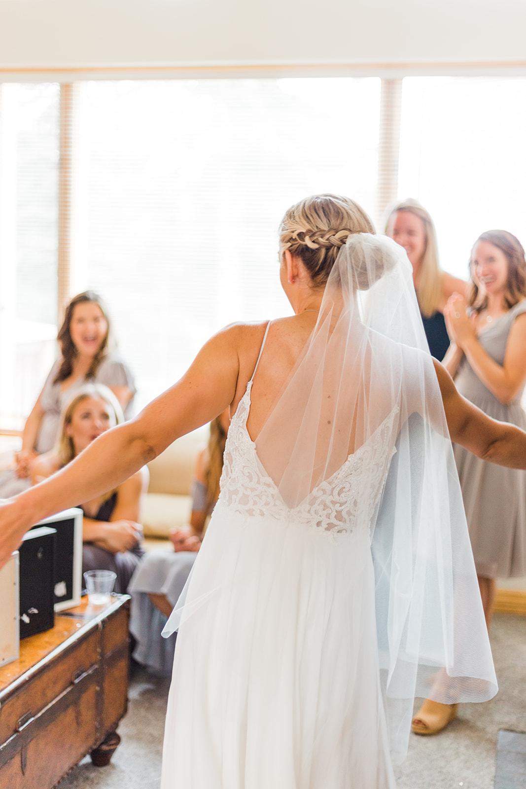 first look bride and bridal party spokane wedding