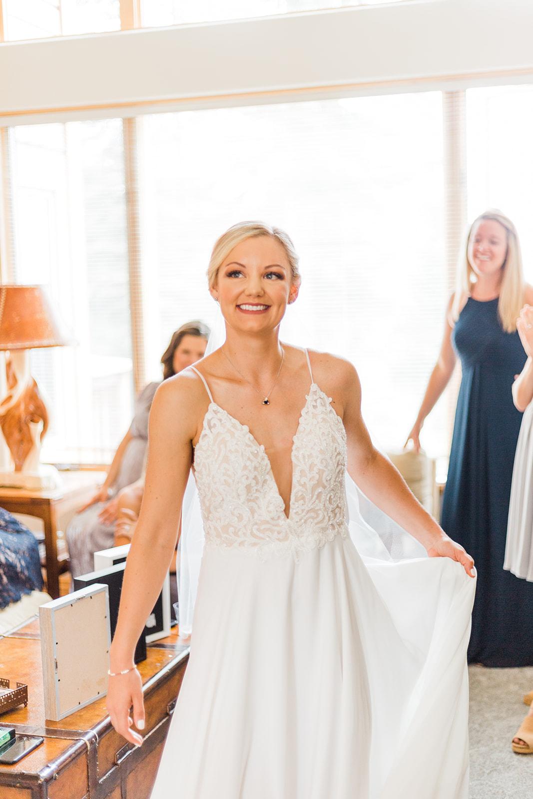 first look bride with bridal party spokane wedding