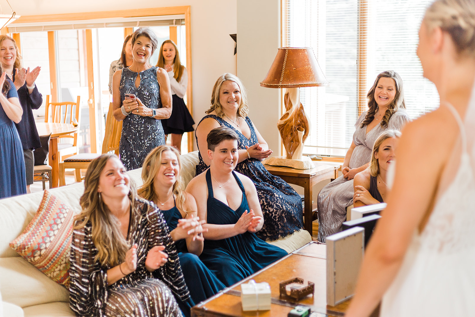 spokane bride first look with bridal party