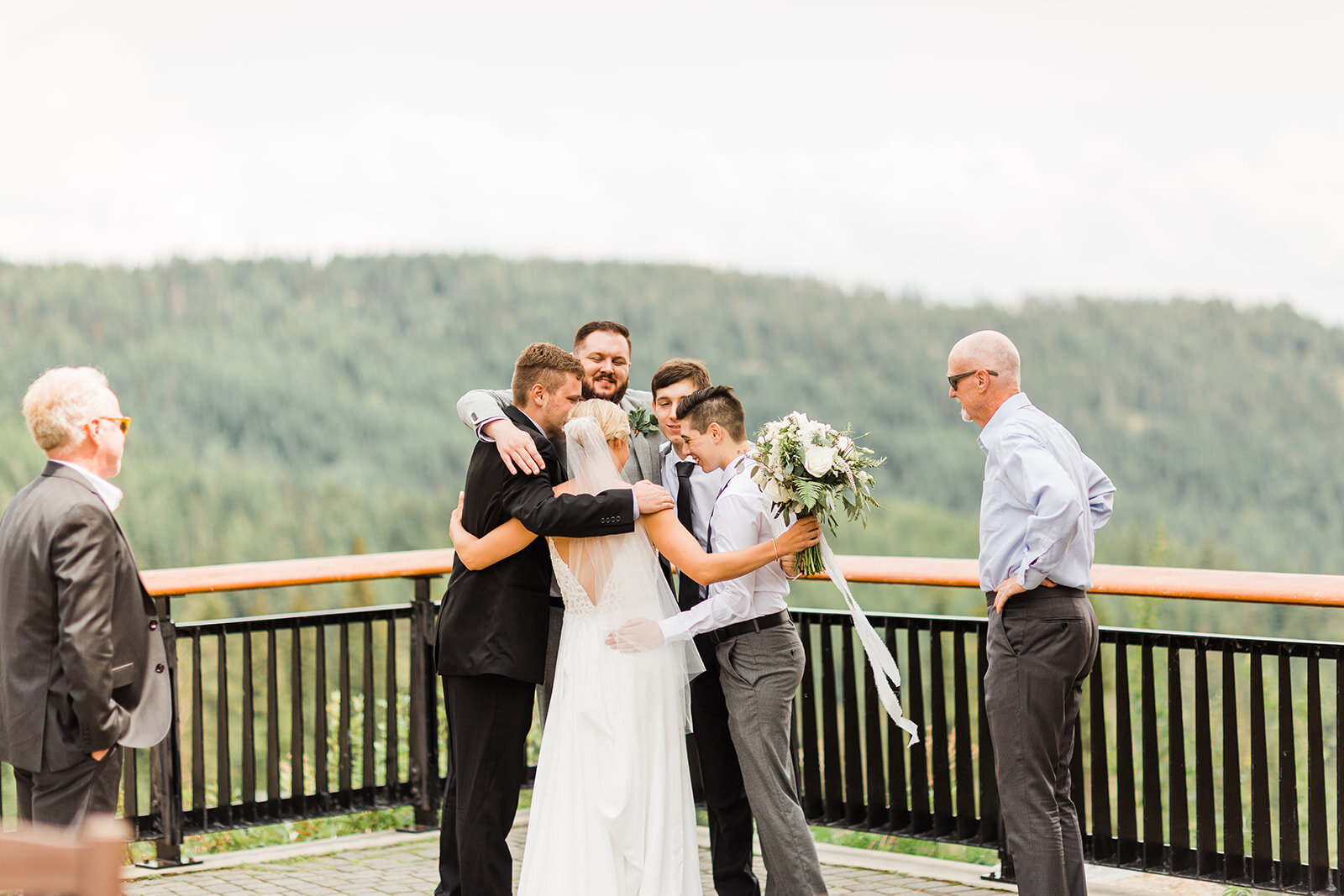 spokane bride first look dads and brothers