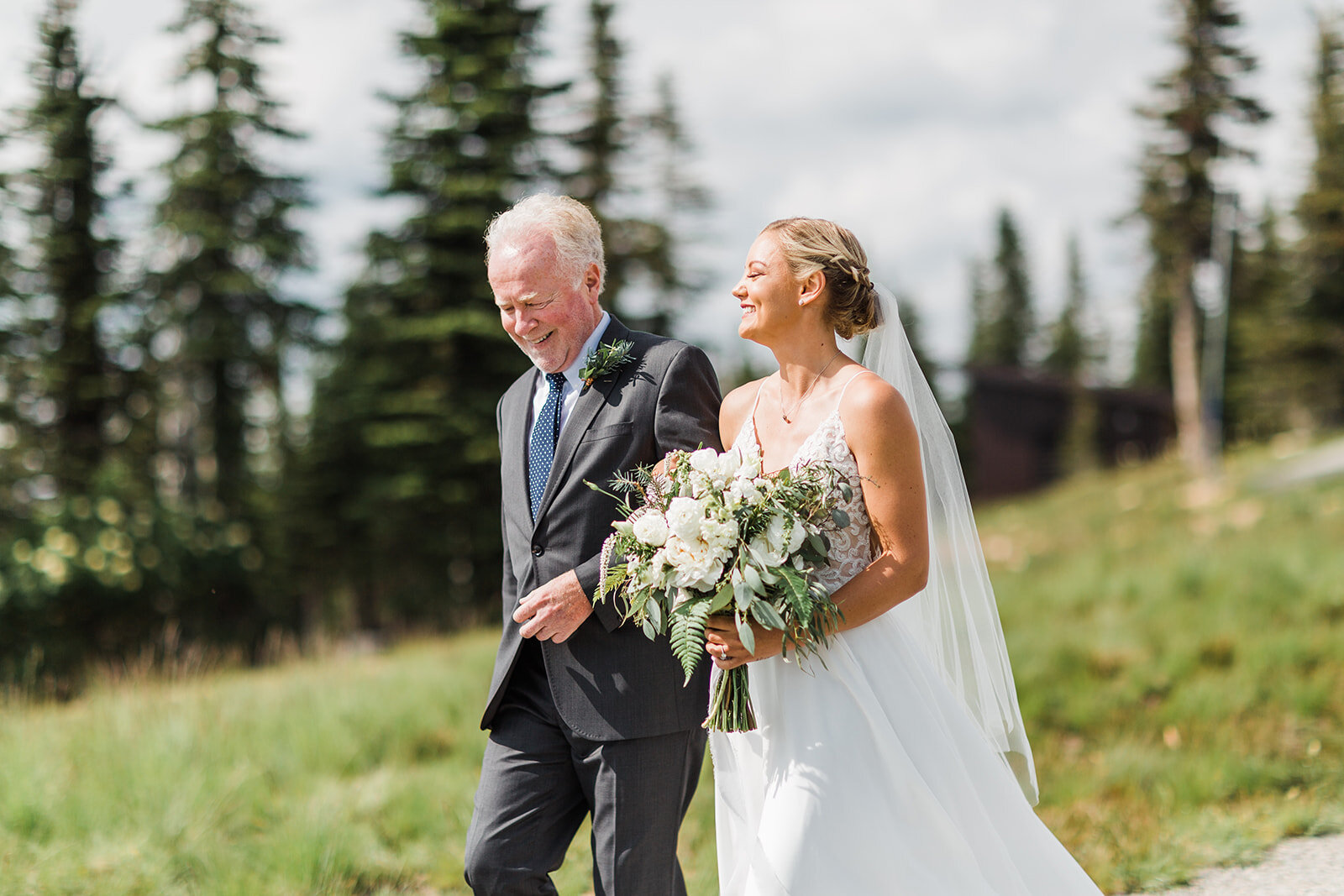 bride and father walking down the aisle spokane wedding