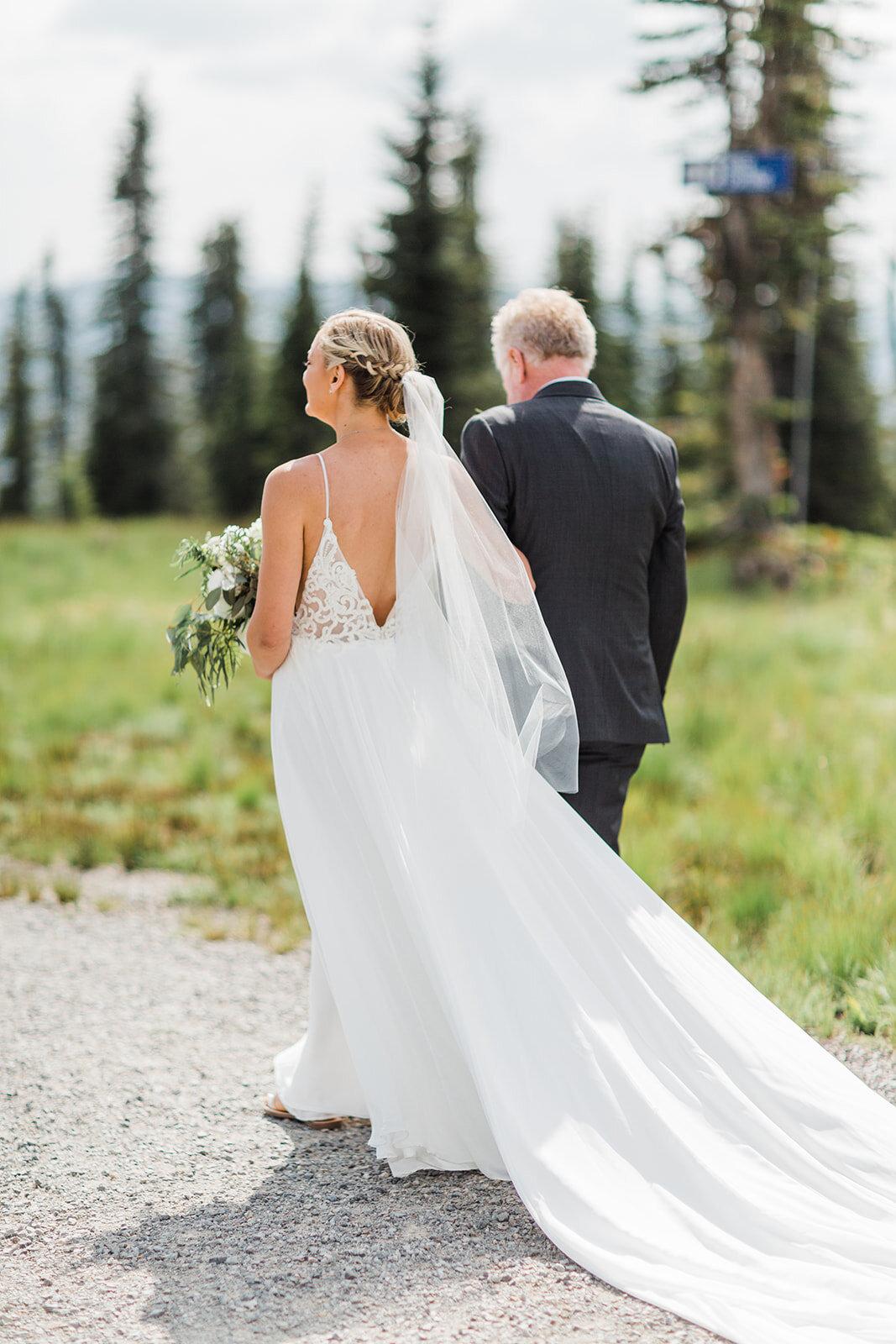 spokane bride and dad wedding aisle
