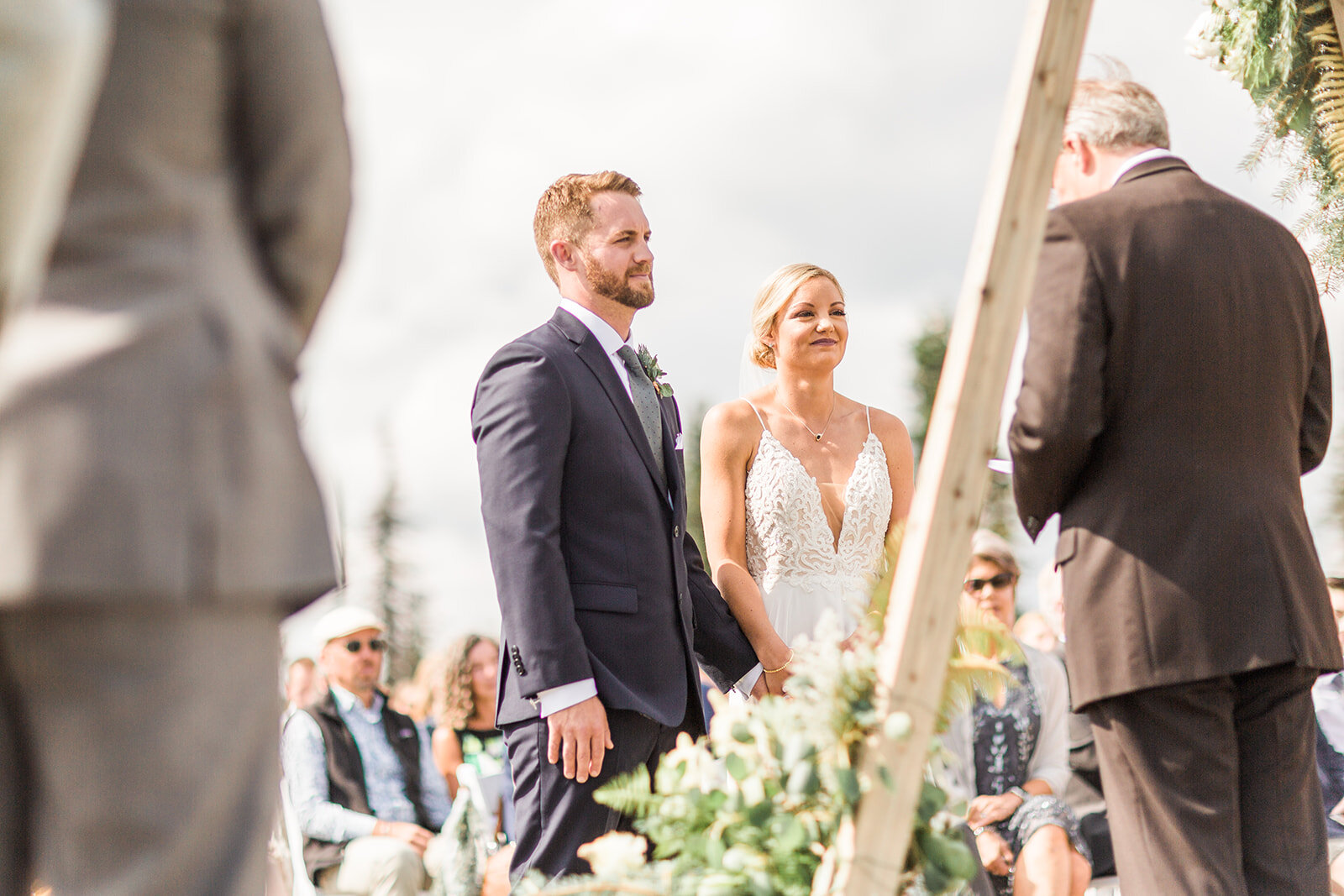 bride and groom ceremony wedding spokane