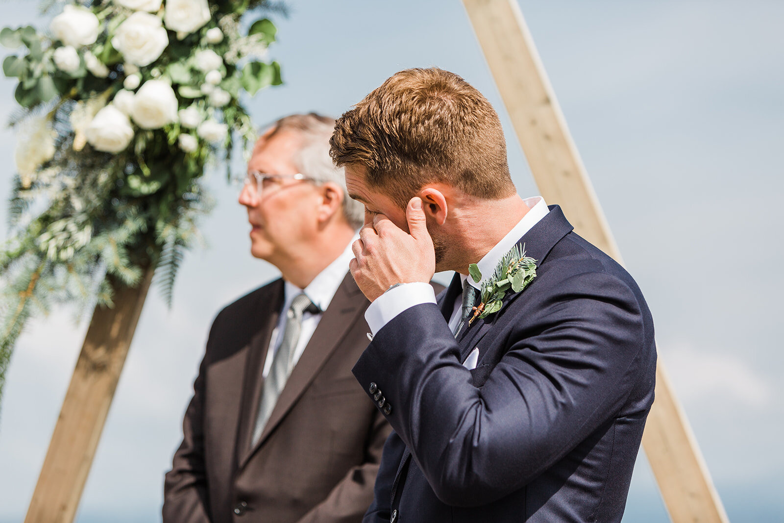 groom first look with spokane bride ceremony wedding