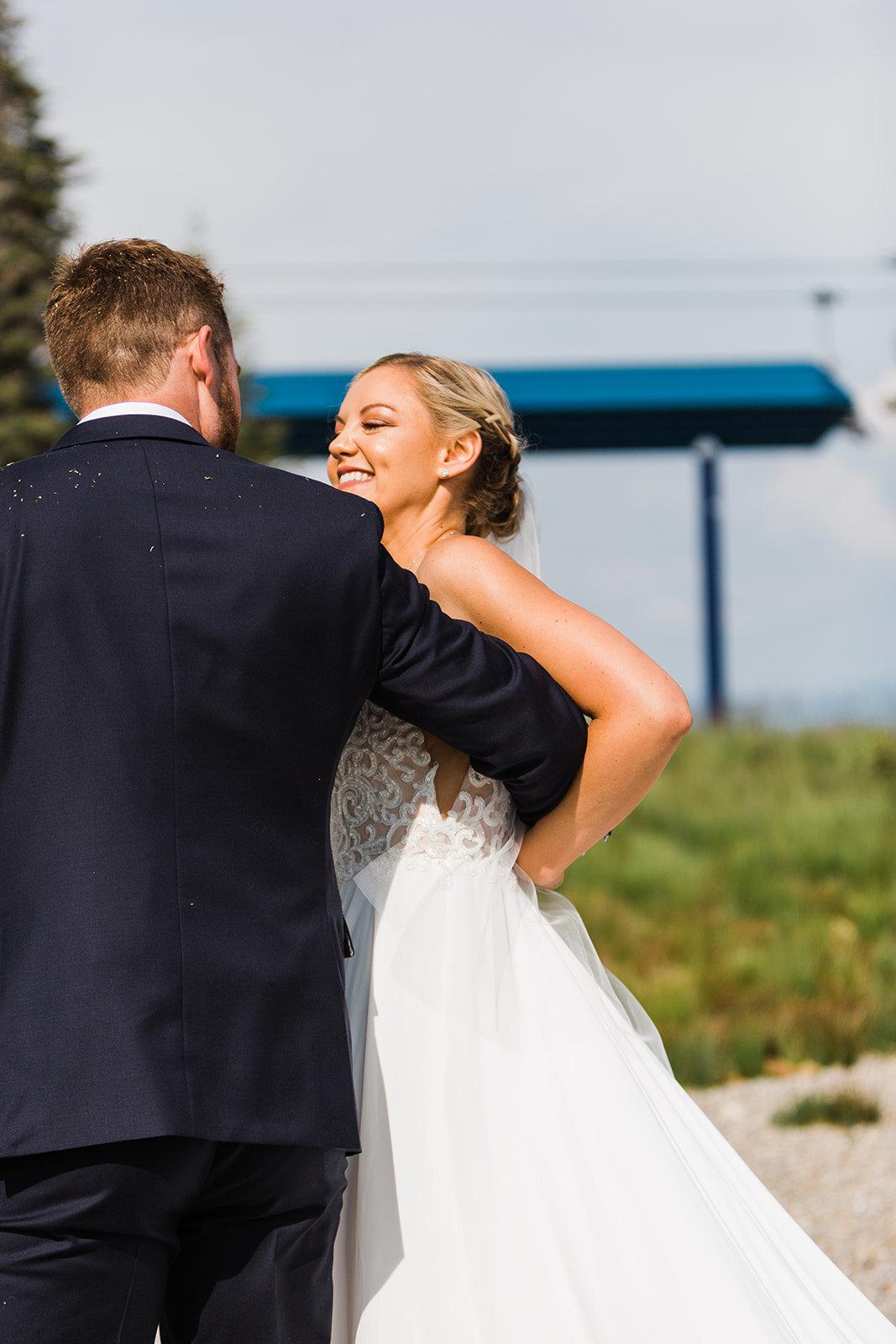bride and groom after spokane wedding ceremony