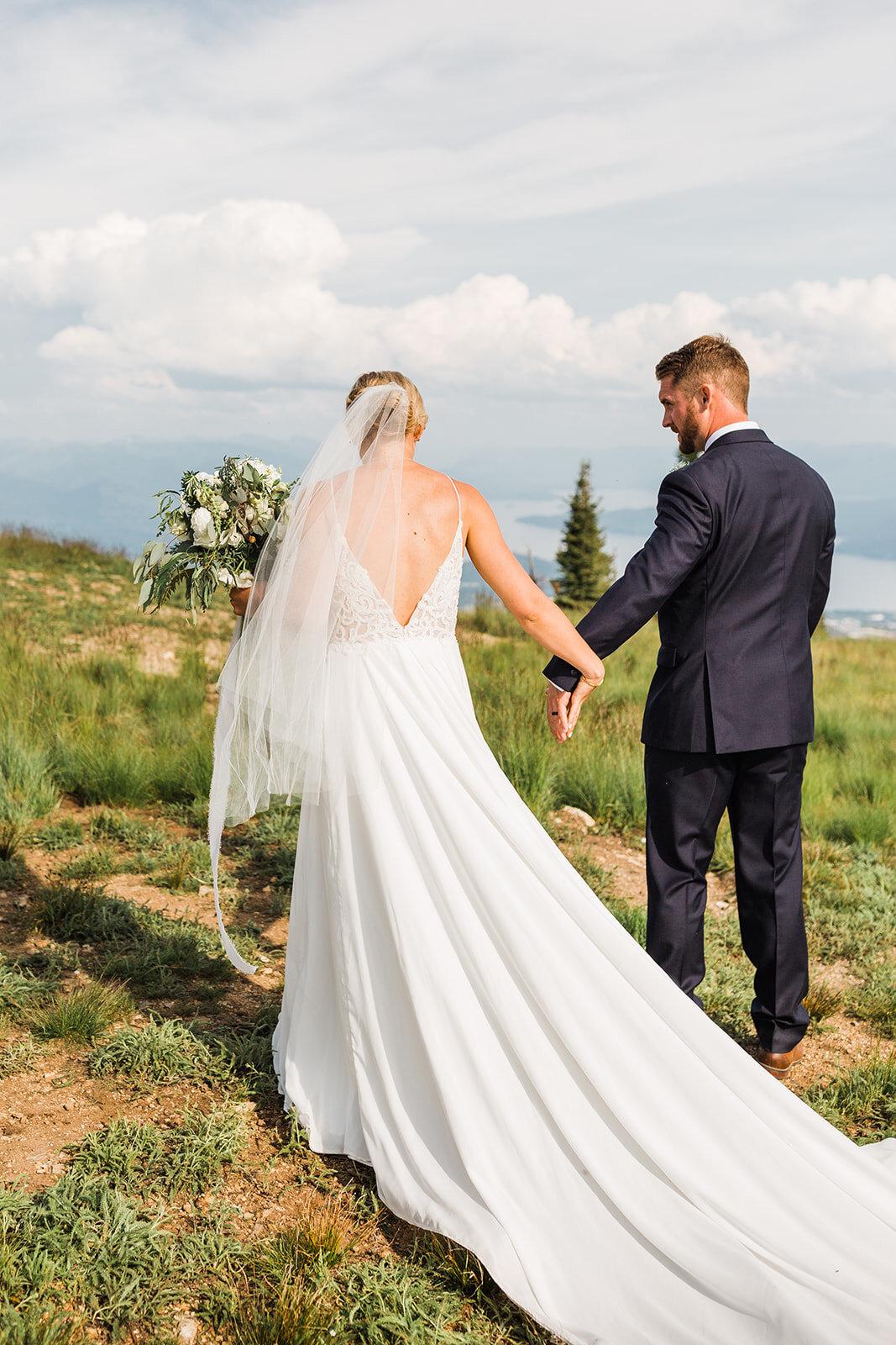 mountaintop wedding spokane schweitzer bride and groom