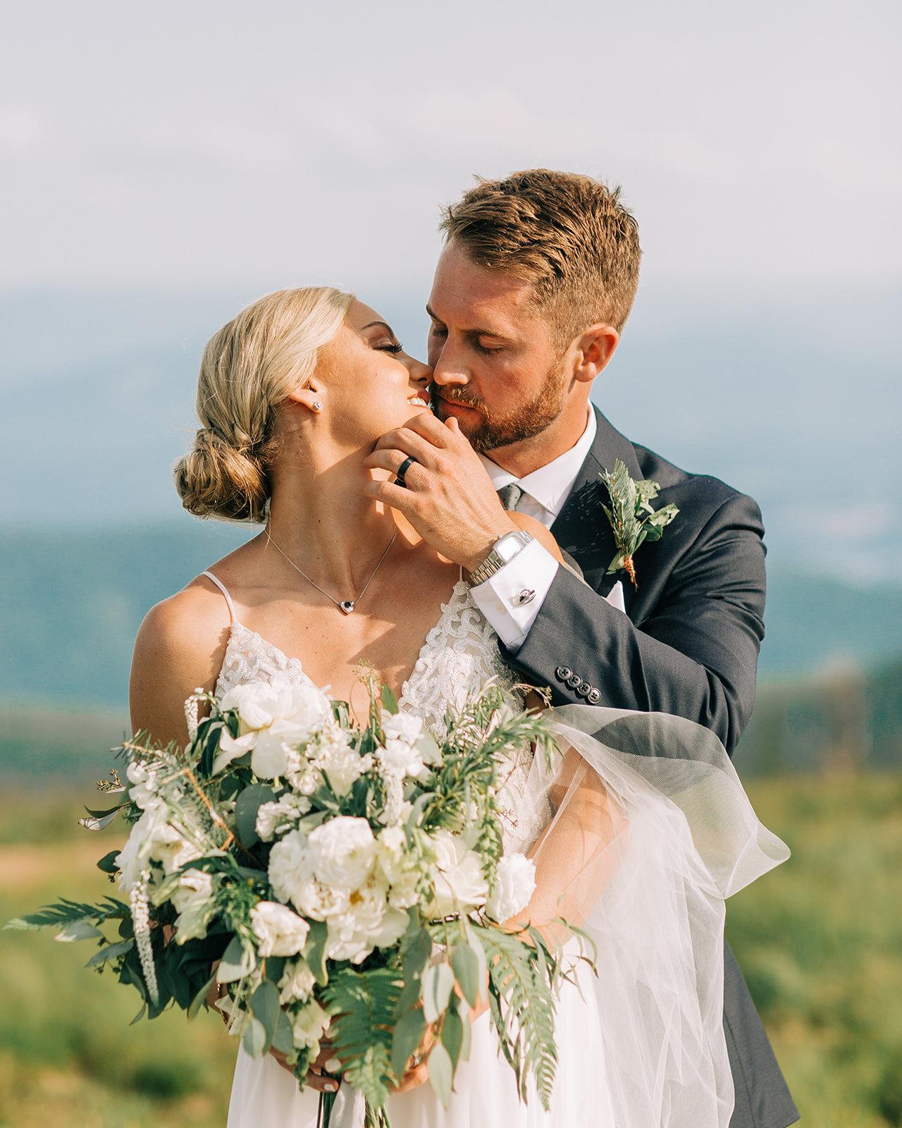 close up spokane bride and groom wedding portraits