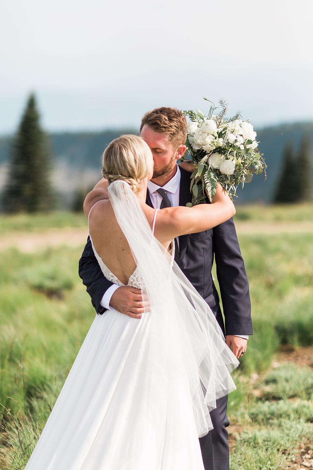 bridal portraits with groom veil spokane wedding