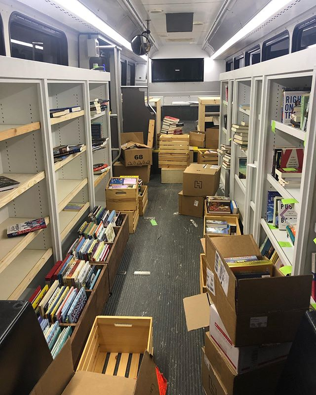 Late night organizing of the bibliobus! We hope to see you at our first event tomorrow night at Rowlett Creek Preserve from 6pm-8pm! #pardonourmess