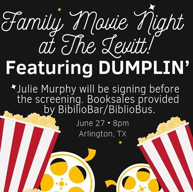 Come to Levitt Pavilion in Arlington tonight to see #Dumplin' on the big screen! You can meet Julie Murphy and get a signed copy of one of her books. For every Julie Murphy book purchased you can be entered to win a pair of 3-day tickets to @leakycon!