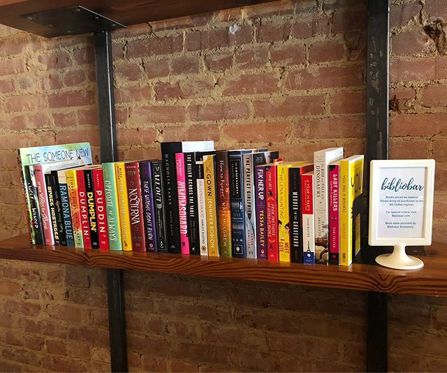 Our first shelf is up and ready to shop at @xocoffeeco! Come by XO Coffee during their business hours and shop the Bibliobar shelf full of fun books for all ages!  You can even purchase signed books by @andimjulie, @rosanne.parry, and @sonali.dev!
