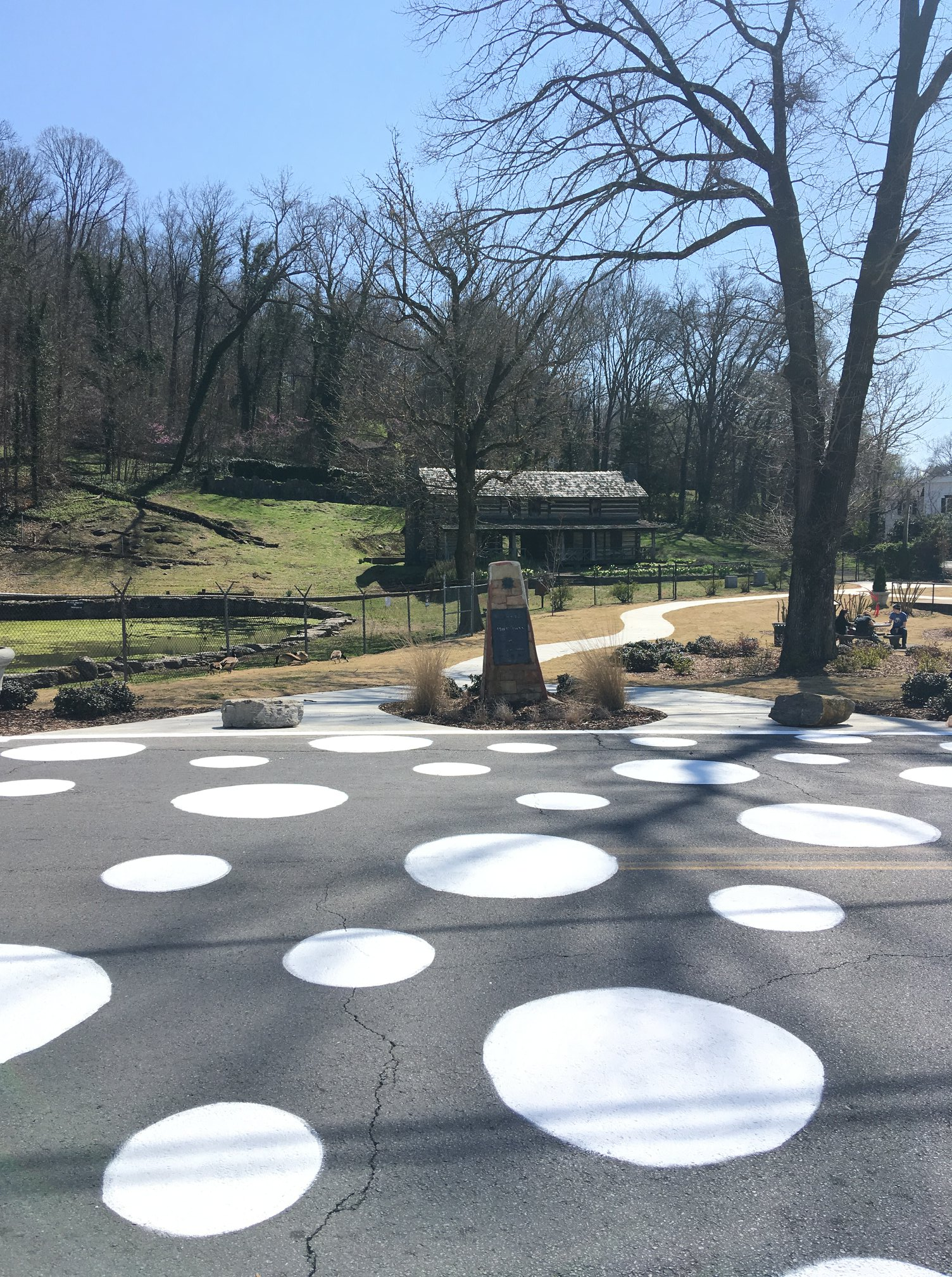 Artistic crosswalk painted by volunteers at the John Ross park in Rossville, Georgia